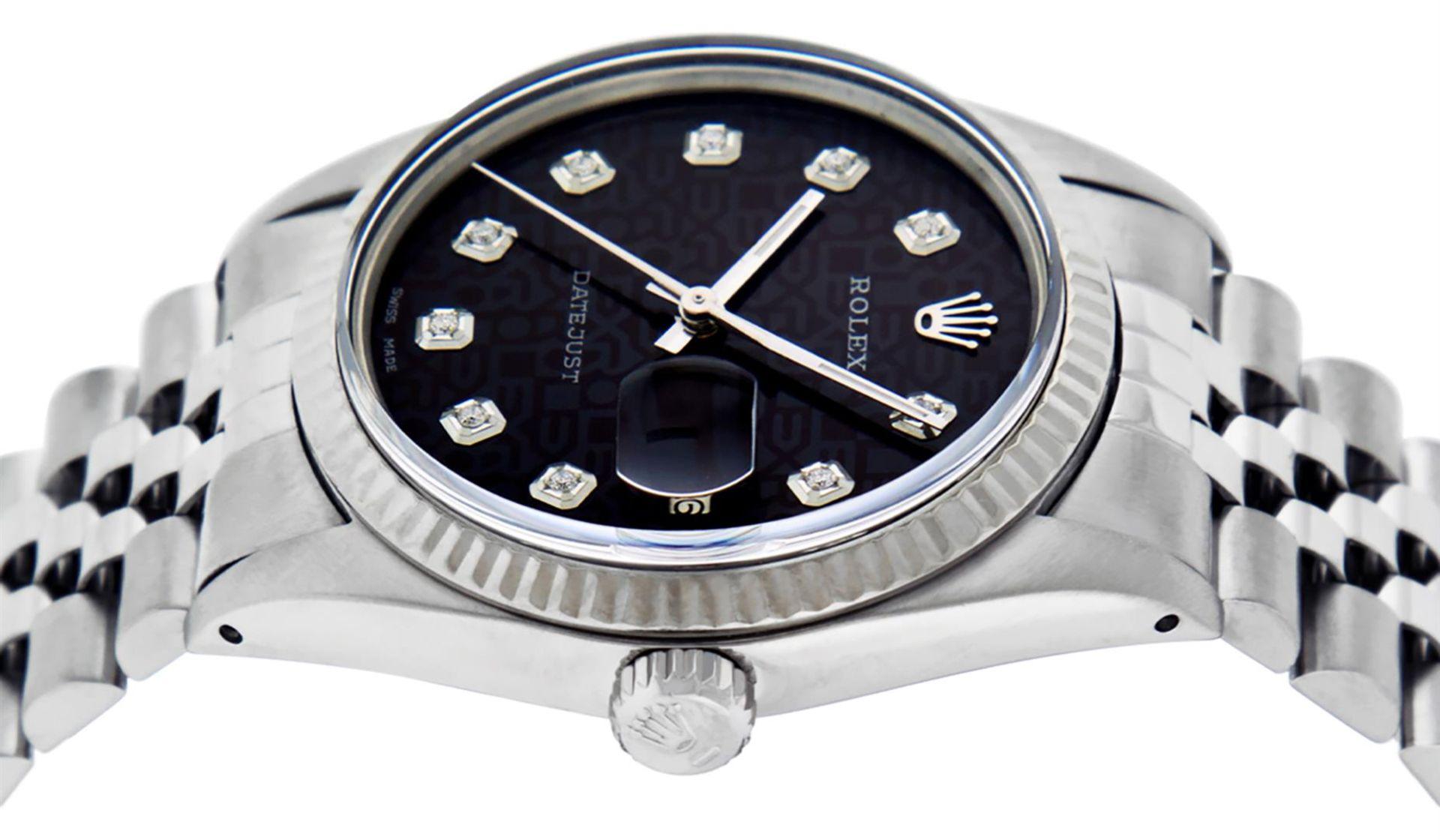 Rolex Mens Stainless Black Diamond 36MM Datejust Wristwatch - Image 9 of 9