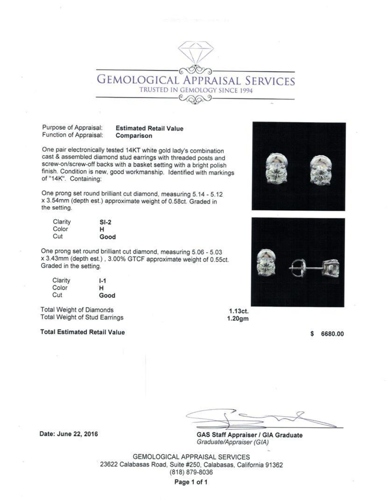 1.13 ctw Diamond Stud Earrings - 14KT White Gold - Image 3 of 3