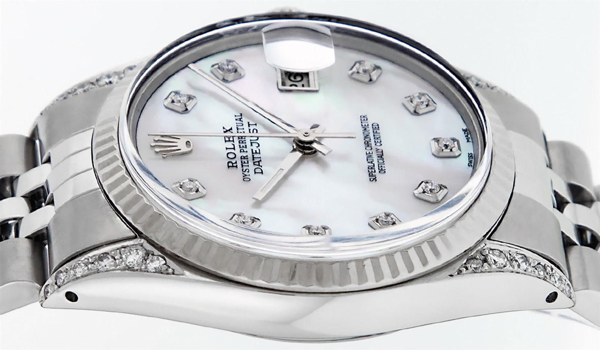 Rolex Mens Stainless Steel Mother Of Pearl Diamond Lugs 36MM Datejust Wristwatch - Image 8 of 8