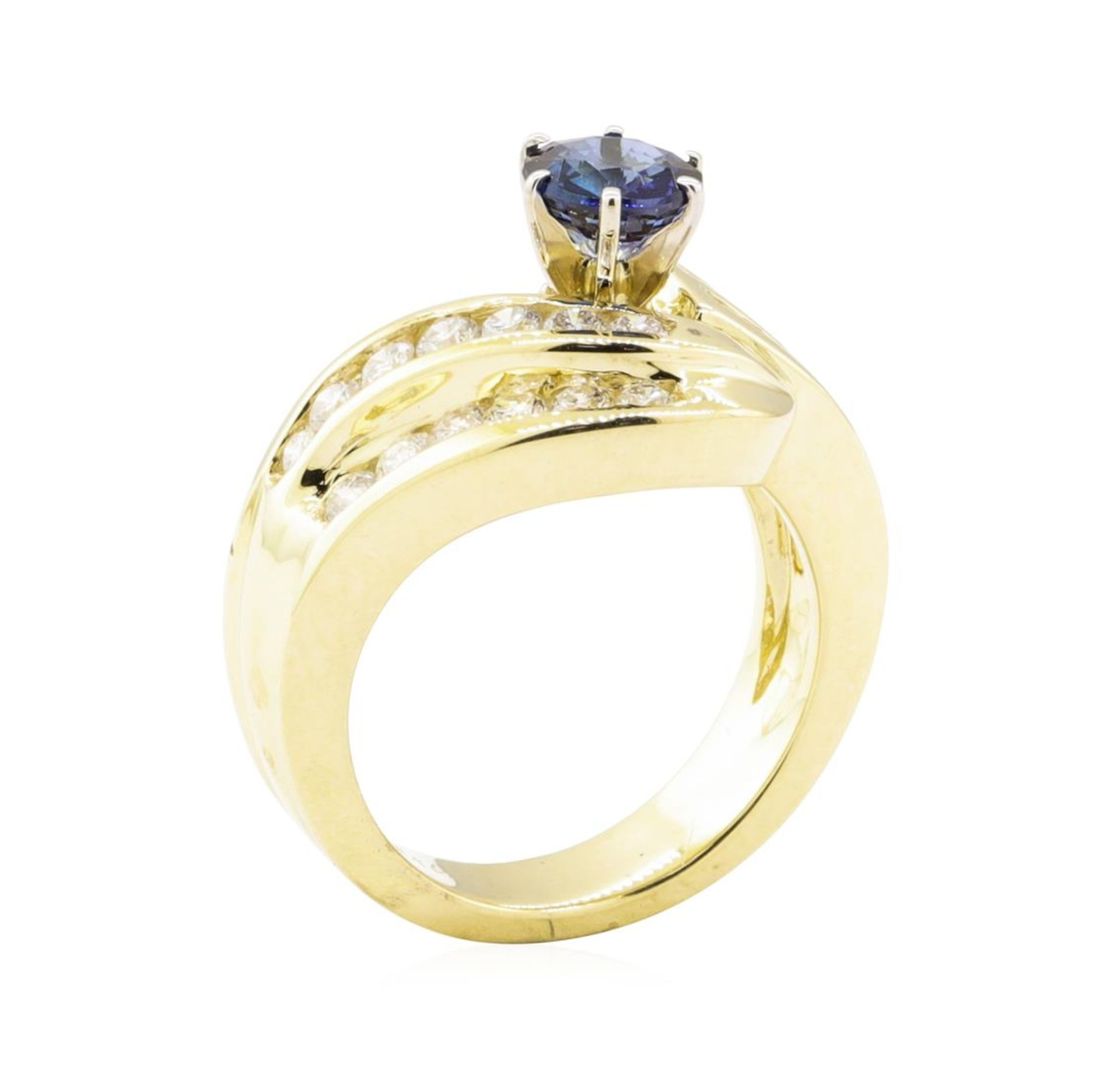 1.78 ctw Blue Sapphire And Diamond Ring - 14KT Yellow Gold - Image 4 of 5