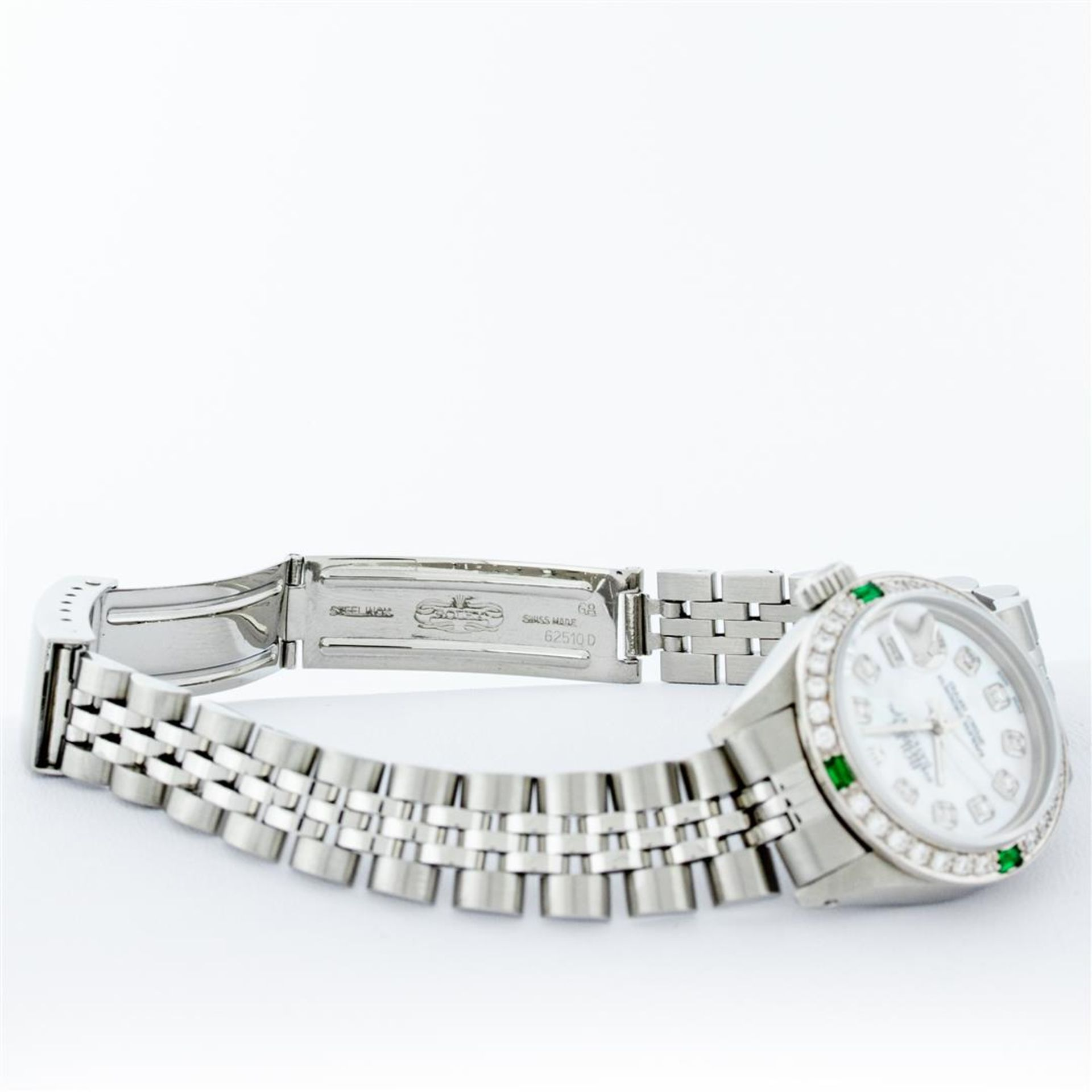 Rolex Ladies Stainless Steel Mother Of Pearl Diamond 26MM Datejust Wristwatch - Image 7 of 9