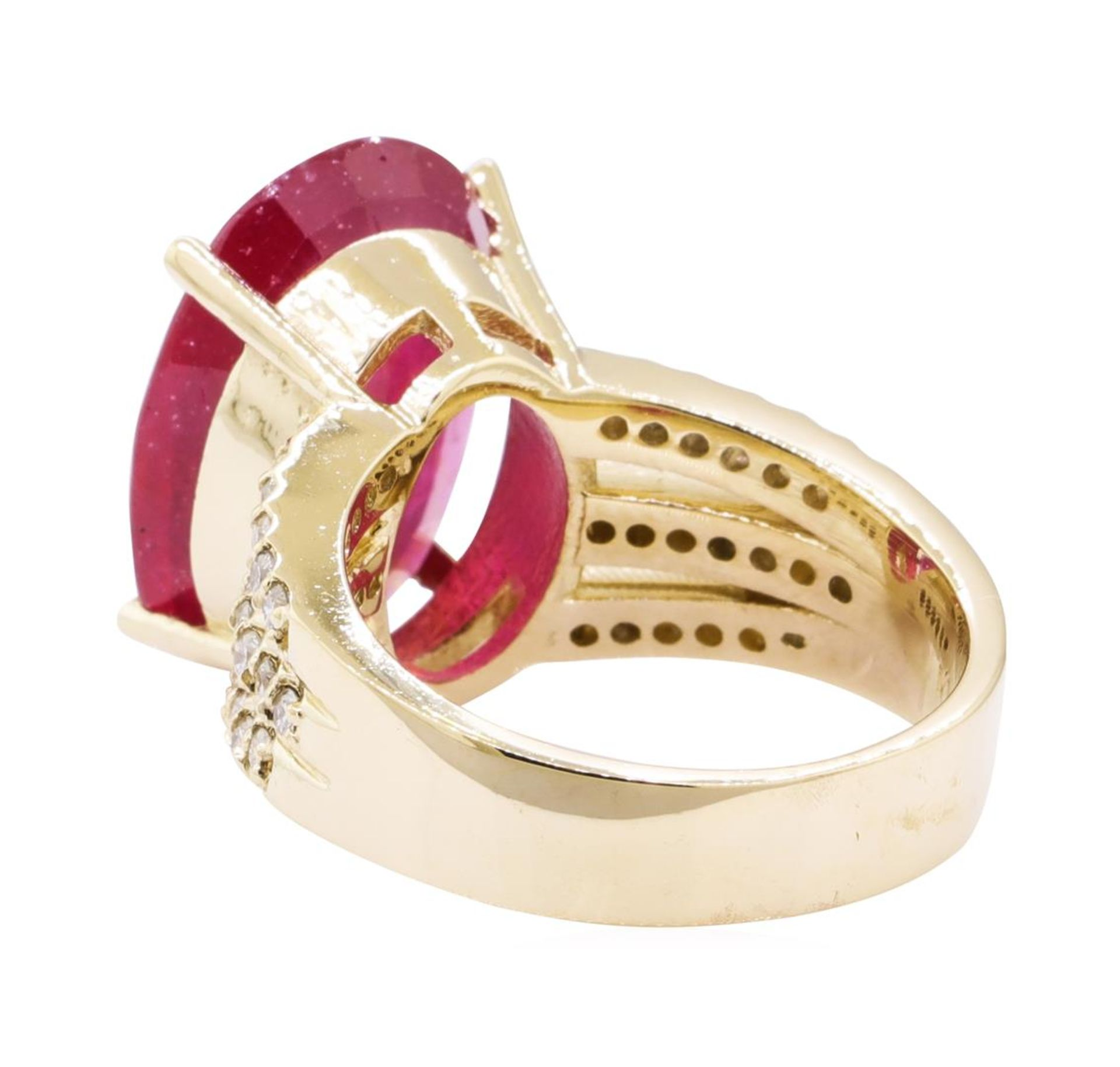 11.80 ctw Ruby And Diamond Ring - 14KT Yellow Gold - Image 3 of 5