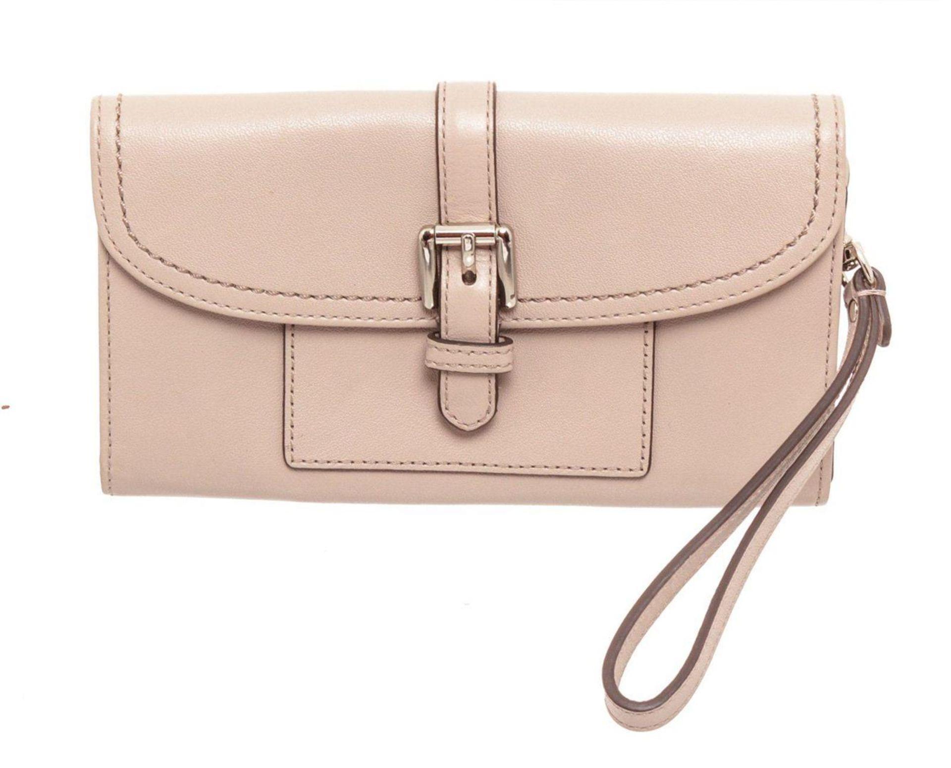 Coach Beige Leather Hybrid Wristlet Wallet