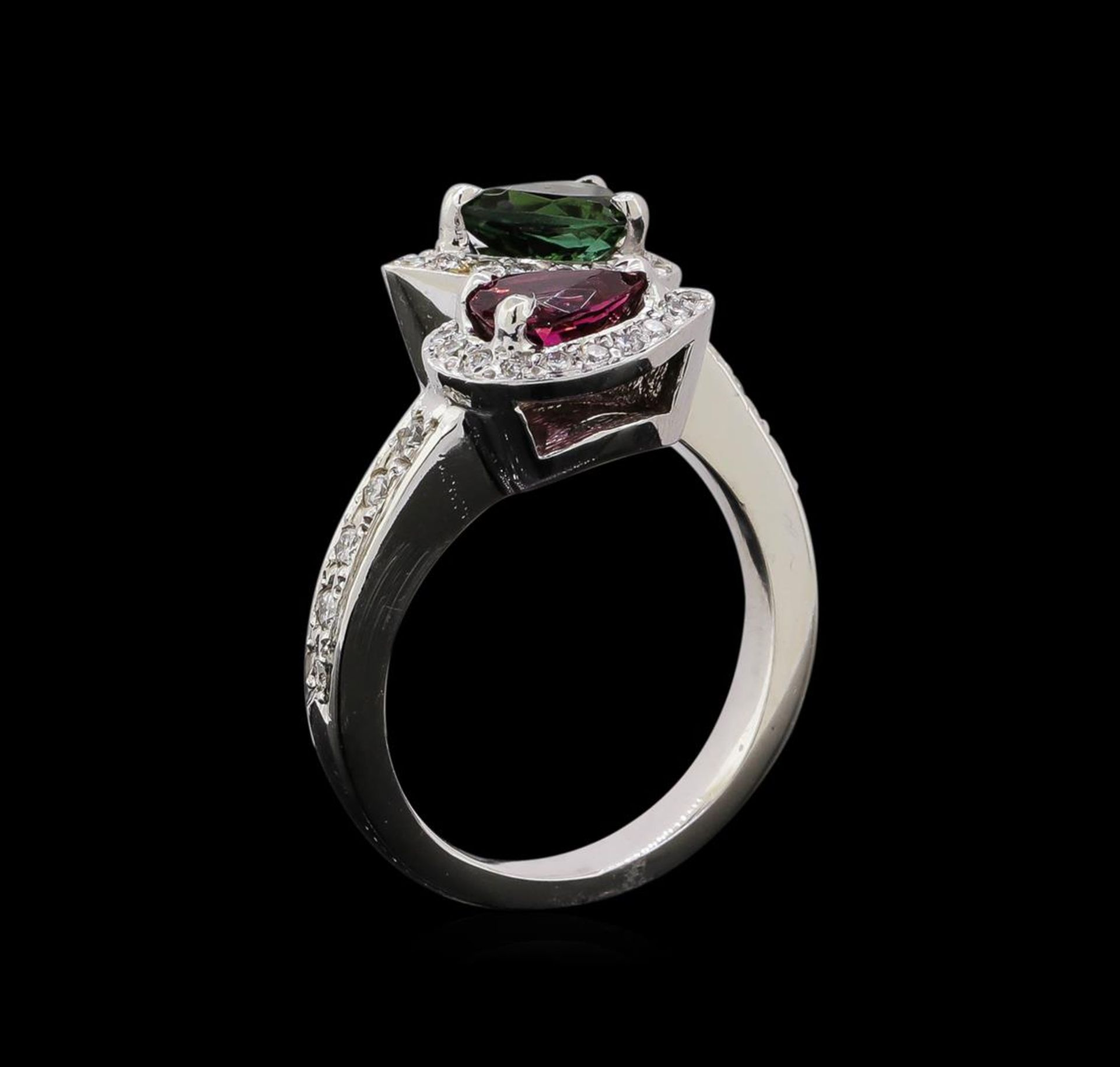 1.22 ctw Tourmaline and Diamond Ring - 14KT White Gold - Image 4 of 4
