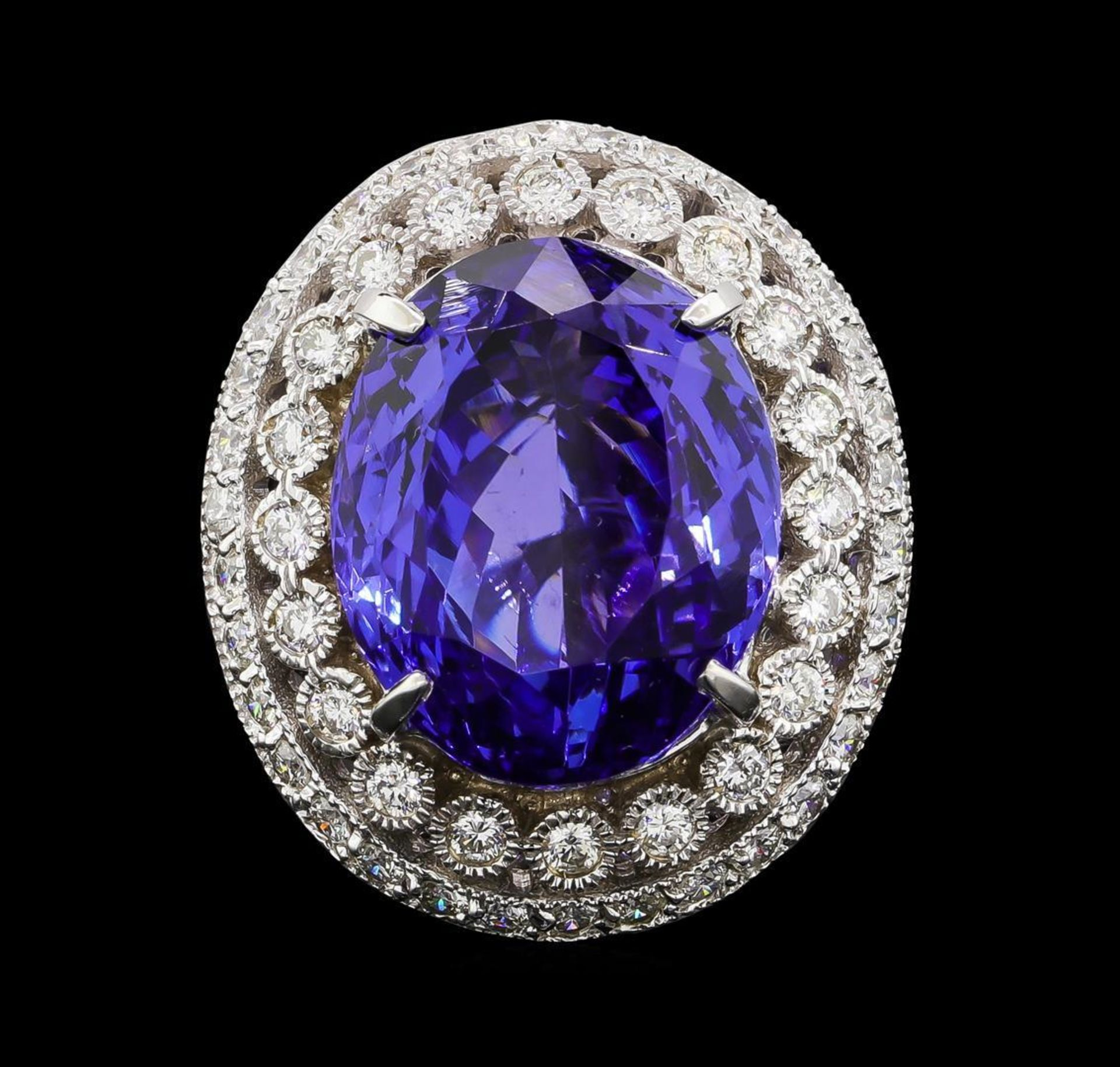 GIA Cert 19.95 ctw Tanzanite and Diamond Ring - 14KT White Gold - Image 2 of 6