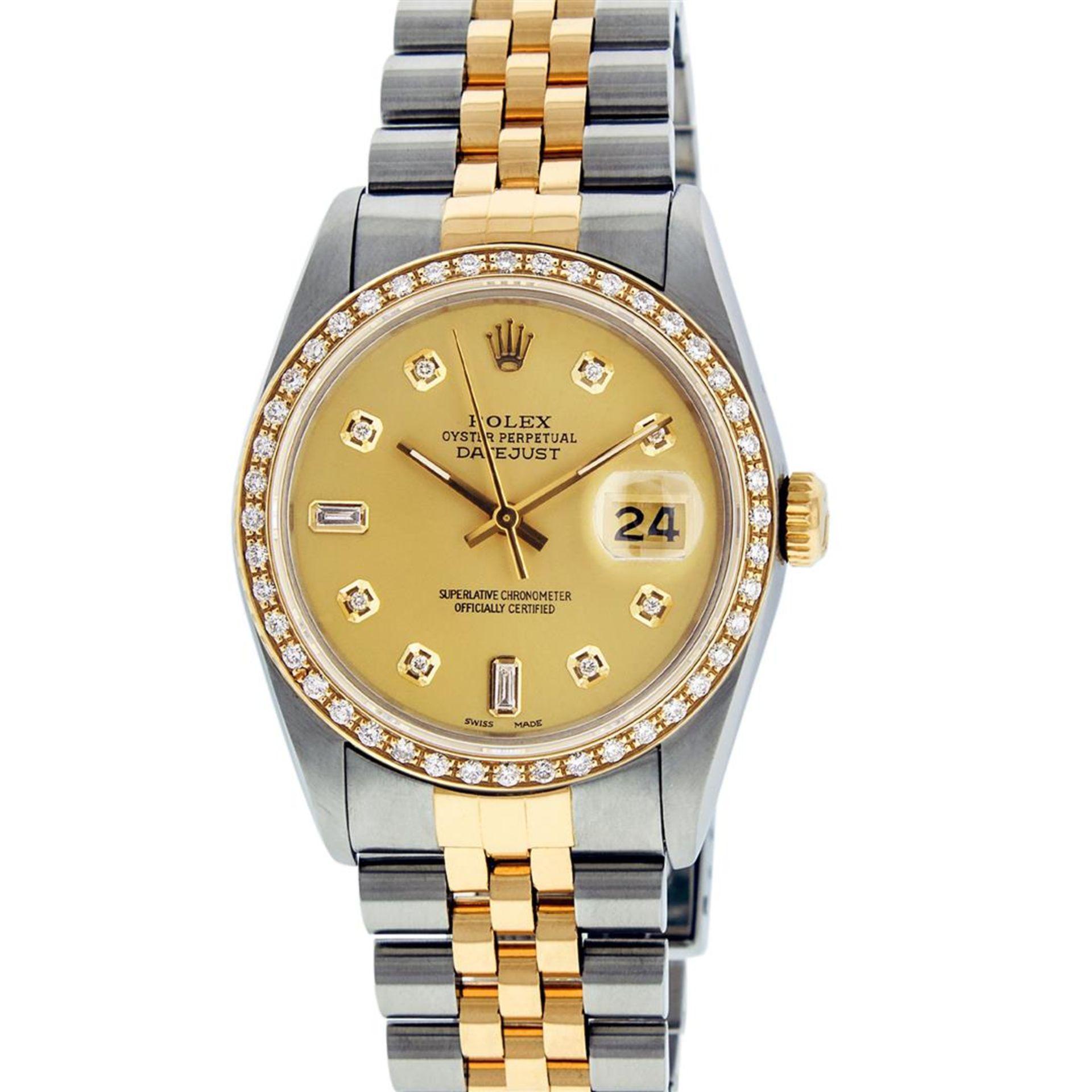Rolex Mens 2 Tone Champagne Diamond 36MM Datejust Wriswatch - Image 3 of 9