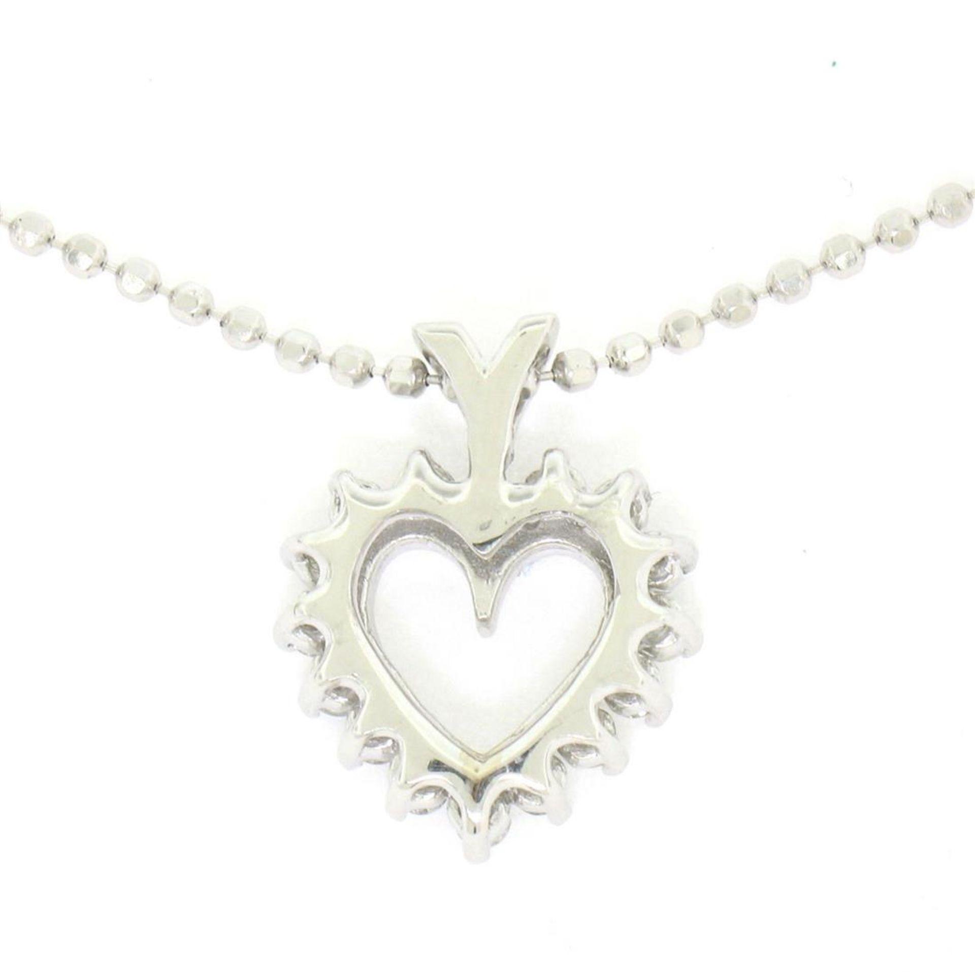"14k White Gold 0.40 ctw Round Brilliant Diamond Open Heart Pendant 18"" Bead Chai - Image 5 of 7"