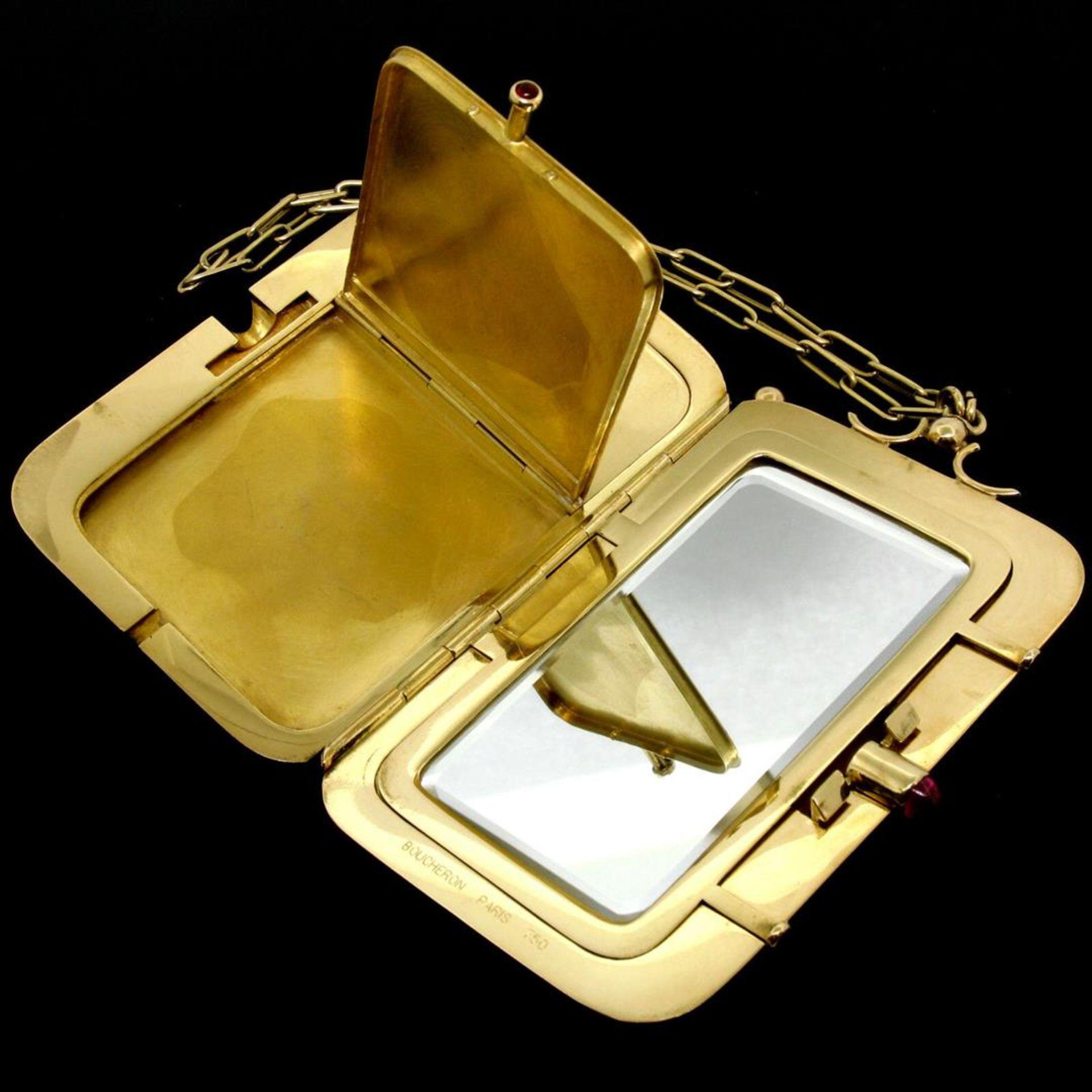 Vintage BOUCHERON Paris 18k Tri Color Gold Ruby Compact Powder Case - Image 7 of 9