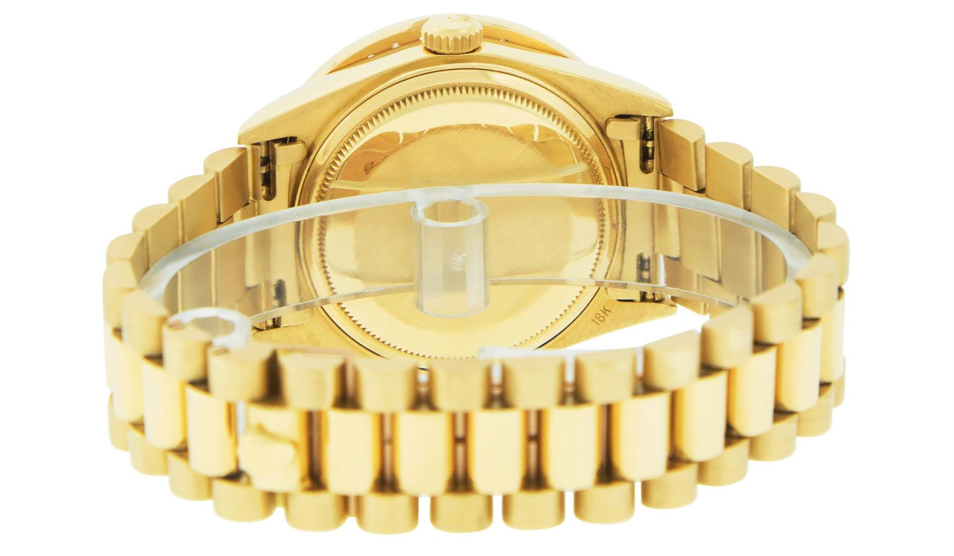 Rolex Mens 18K Yellow Gold Black Diamond 2.5 ctw Quickset President Wristwatch W - Image 5 of 6