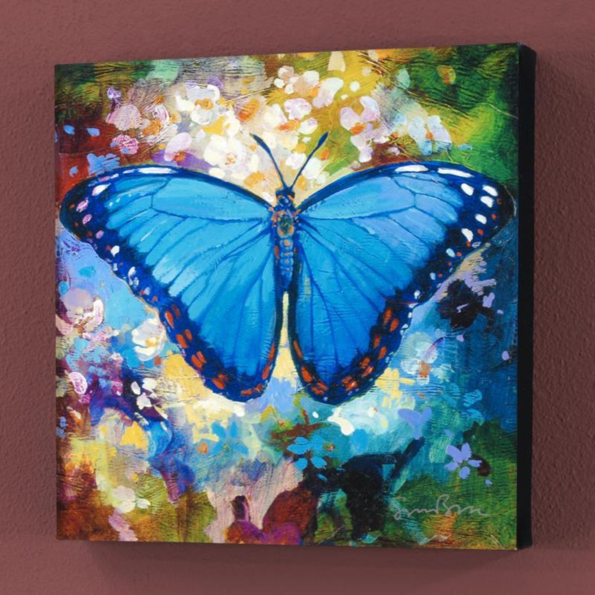 """Blue Morpho"" Limited Edition Giclee on Canvas by Simon Bull, Numbered and Signe - Image 2 of 2"