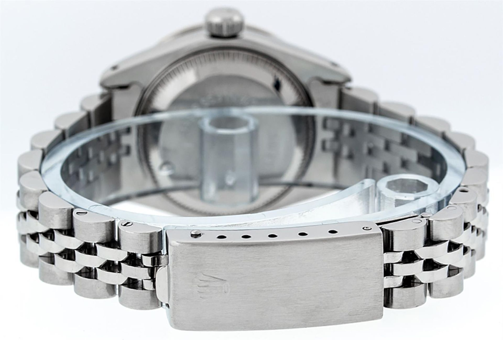 Rolex Ladies Stainless Steel 26MM Purple String Diamond Lugs Datejust Wristwatch - Image 8 of 9
