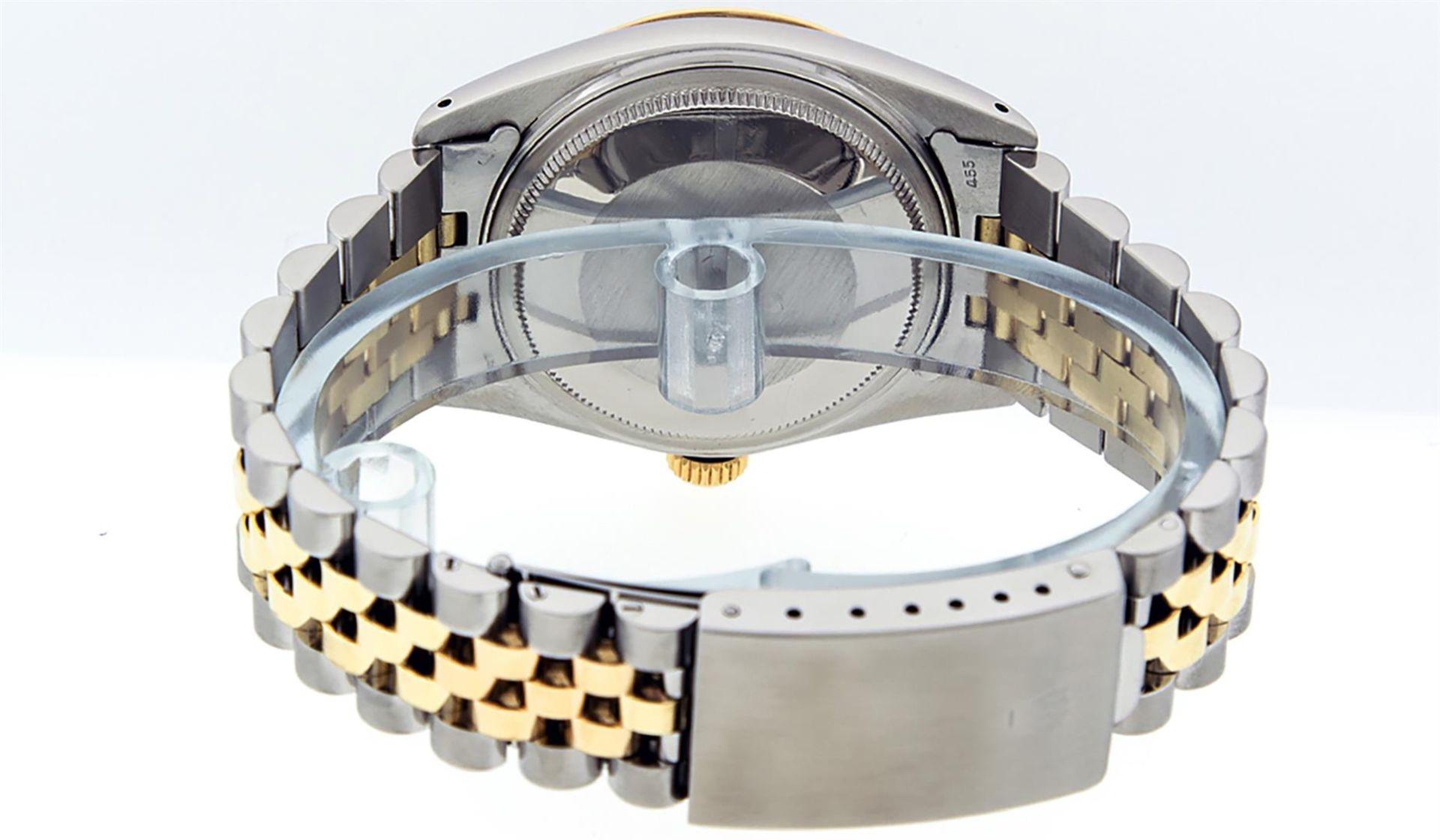 Rolex Mens 2 Tone Black Diamond 36MM Datejust Wristwatch - Image 9 of 9