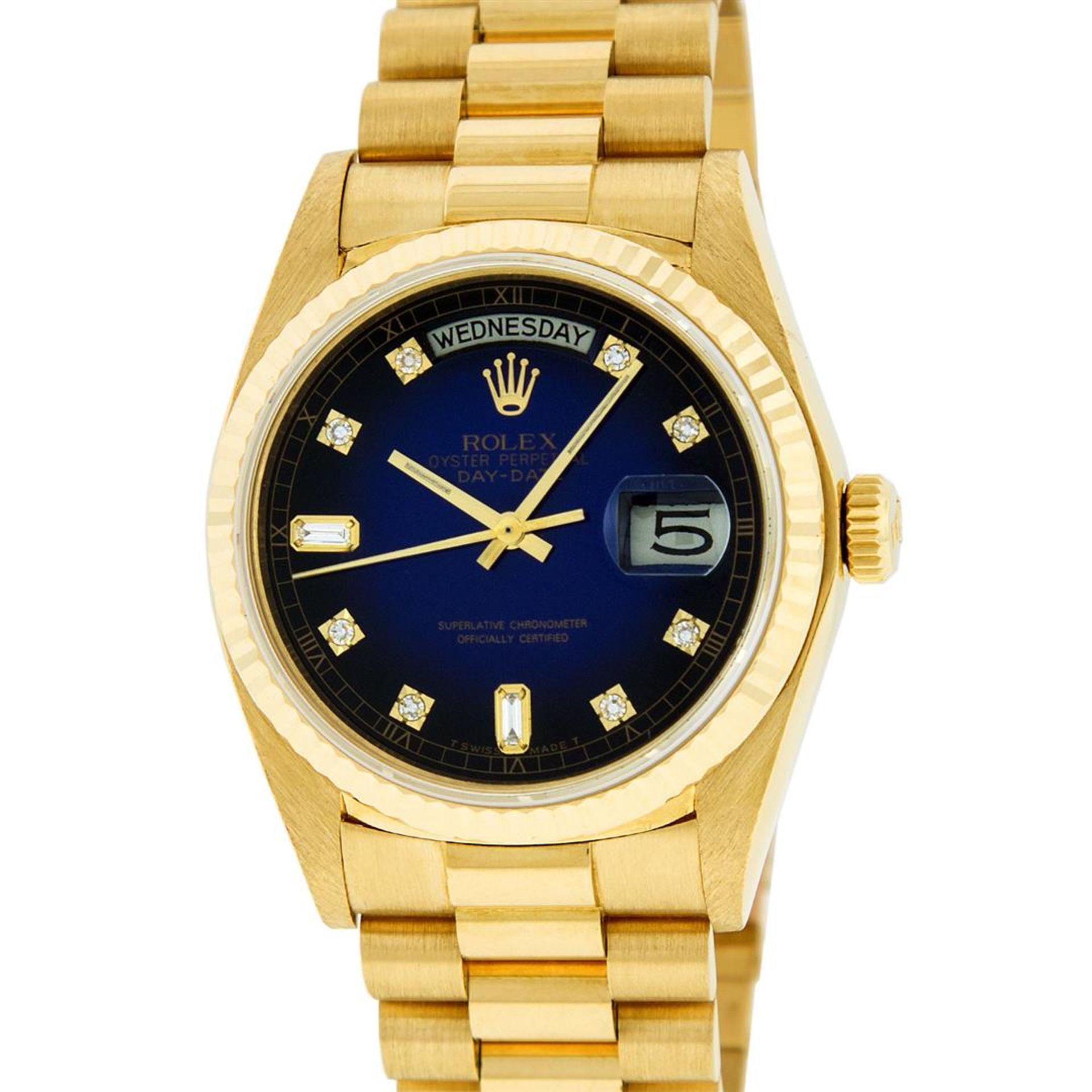 Rolex Mens 18K Yellow Gold Blue Vignette Diamond Quickset President Wristwatch W - Image 2 of 9