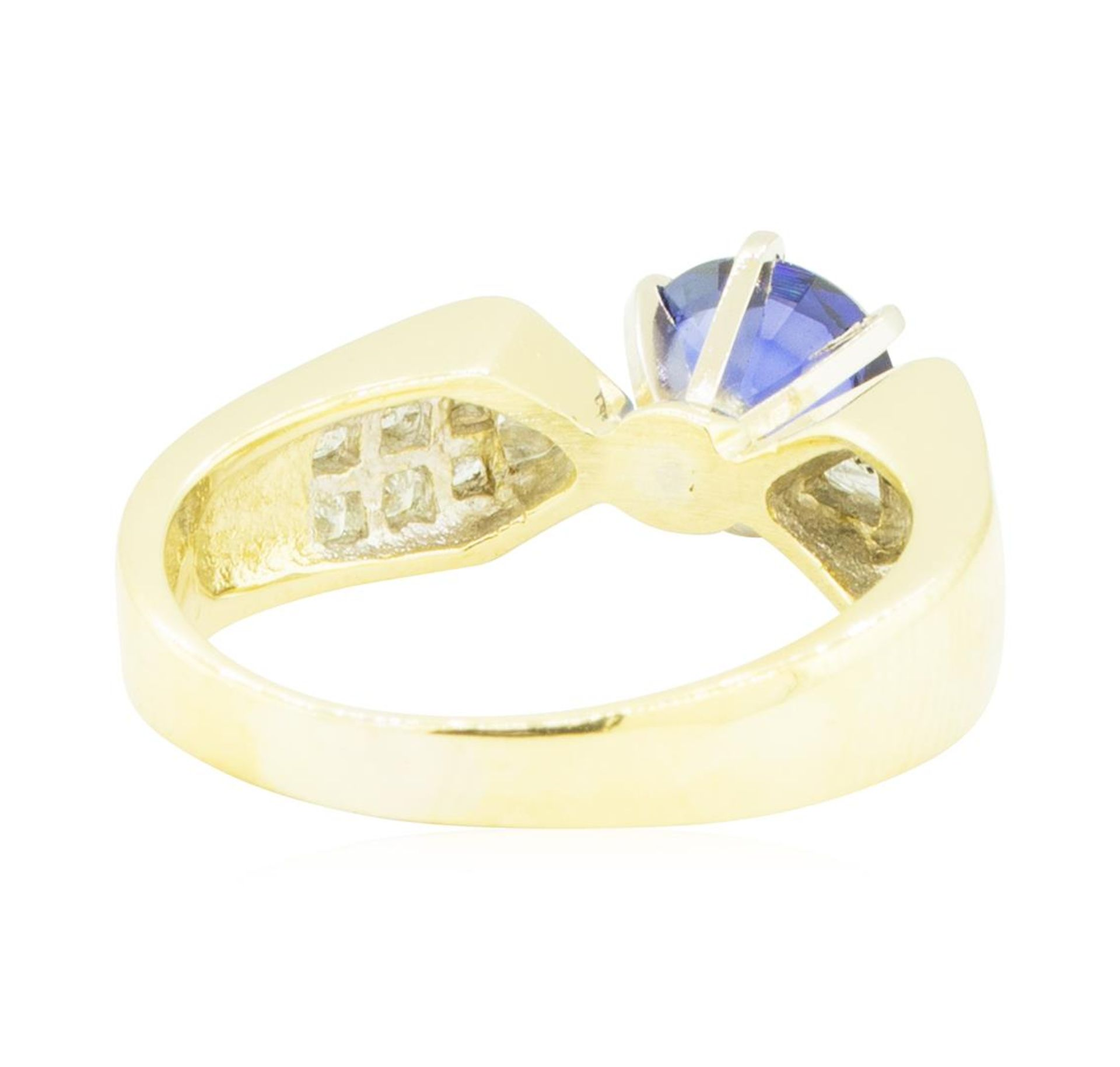 2.20 ctw Blue Sapphire and Diamond Ring - 18KT Yellow Gold - Image 3 of 4