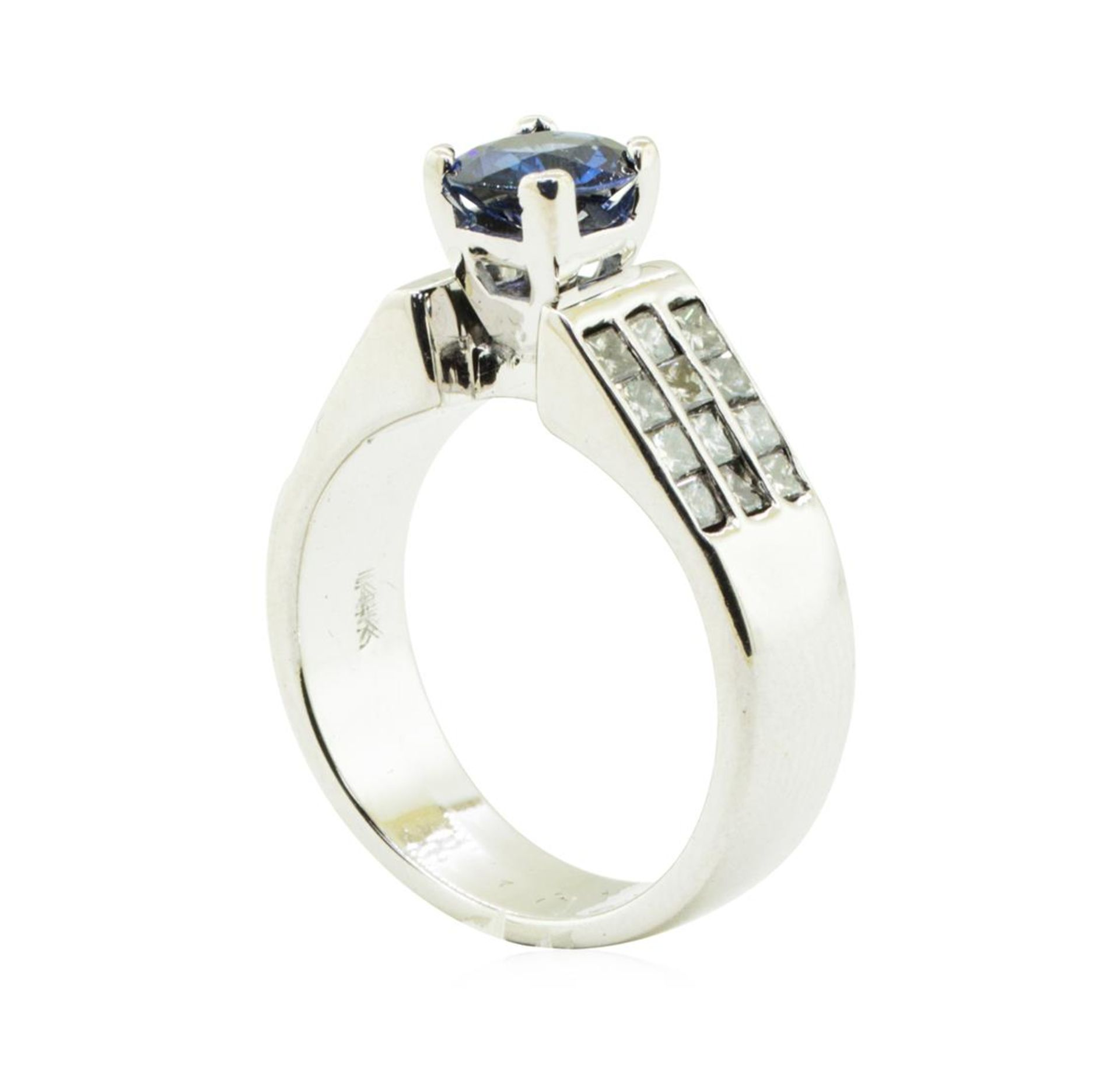 2.17 ctw Oval Brilliant Blue Sapphire And Diamond Ring - 14KT White Gold - Image 4 of 5