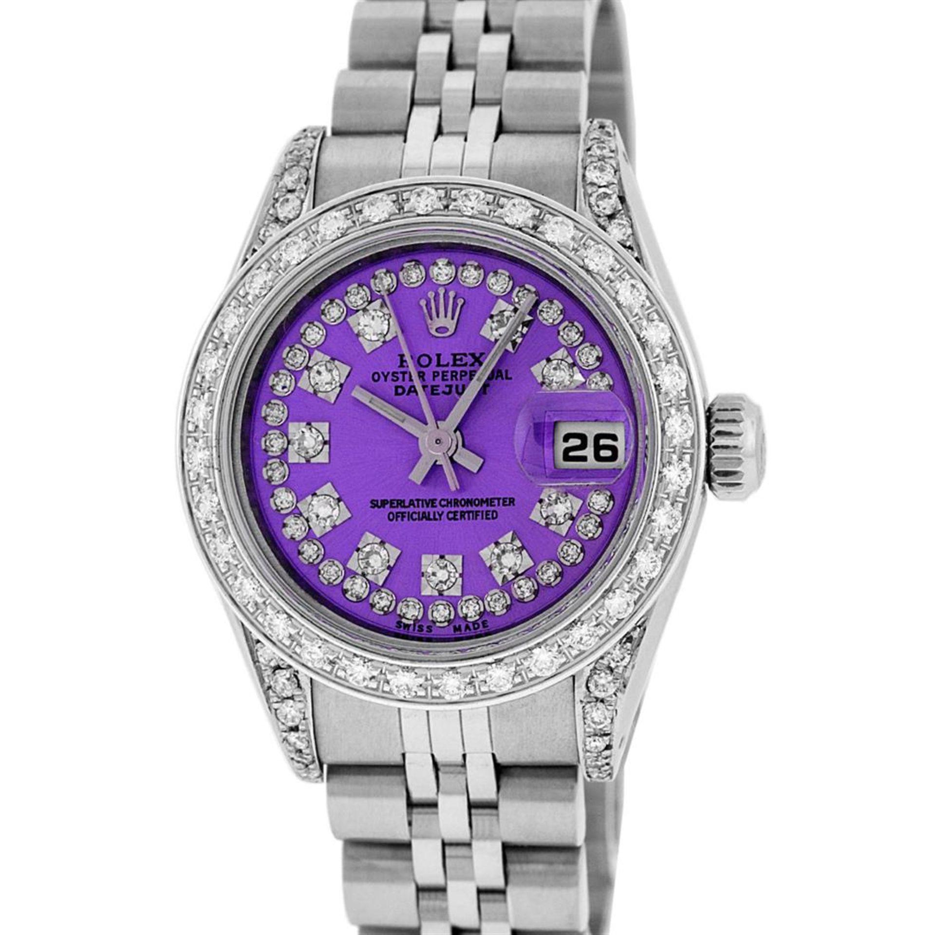 Rolex Ladies Stainless Steel 26MM Purple String Diamond Lugs Datejust Wristwatch - Image 2 of 9