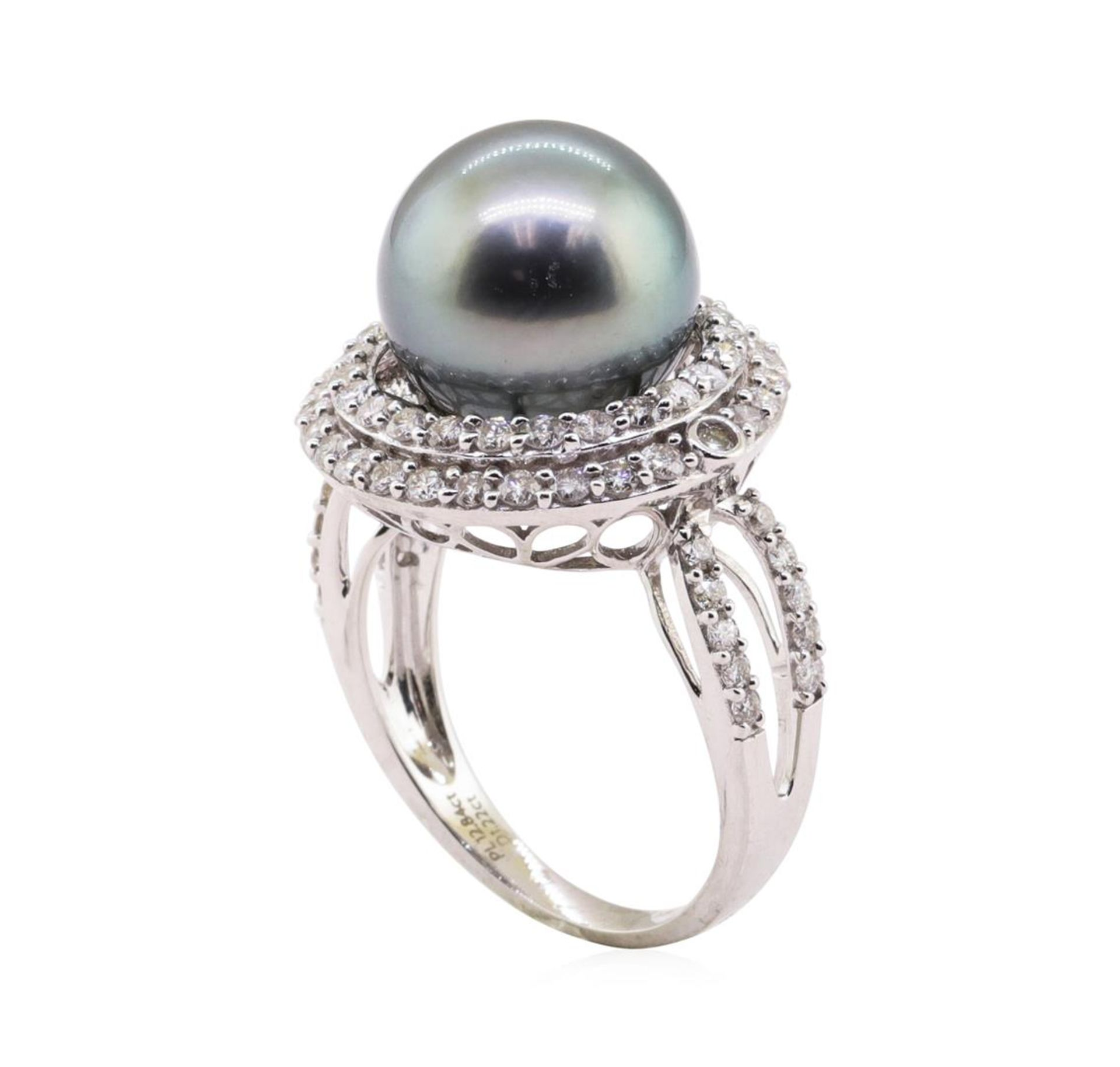 Tahitian Pearl and Diamond Ring - 18KT White Gold - Image 4 of 5