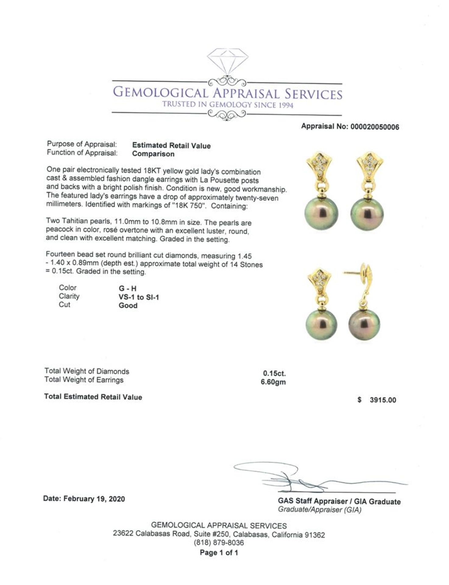 0.15 ctw Diamond and Pearl Earrings - 18KT Yellow Gold - Image 3 of 3