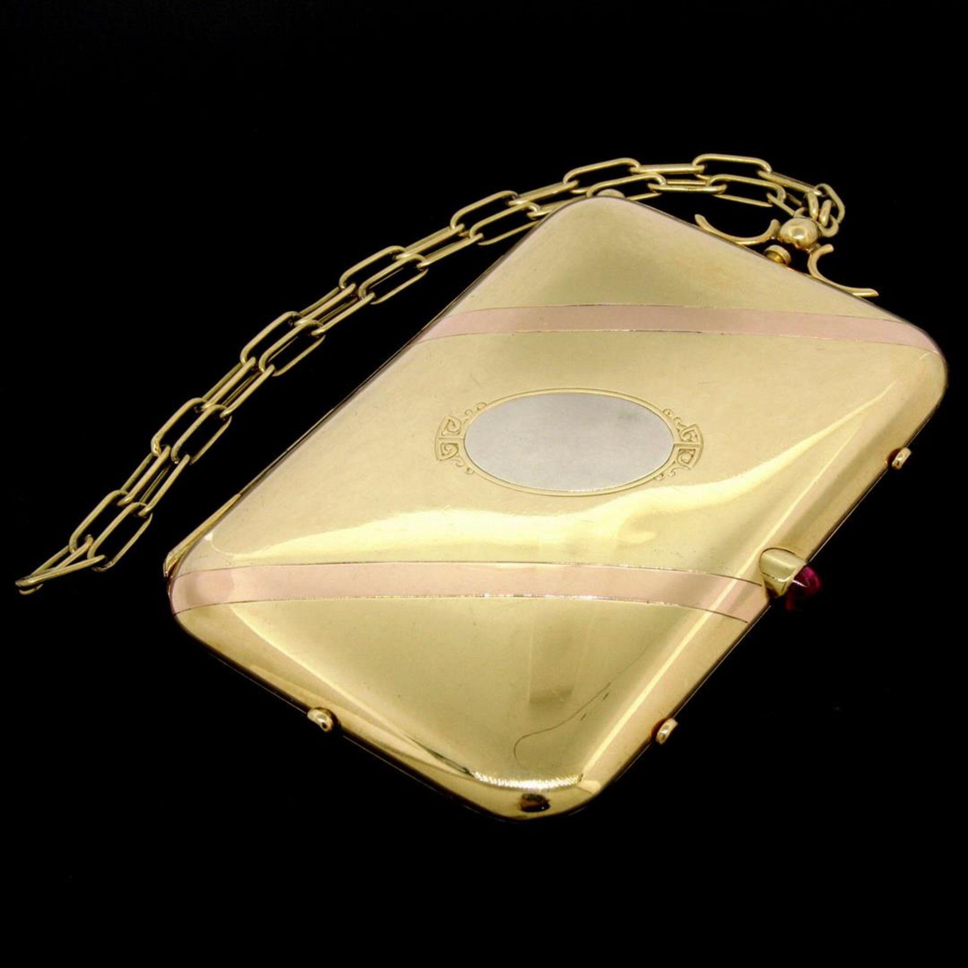 Vintage BOUCHERON Paris 18k Tri Color Gold Ruby Compact Powder Case - Image 2 of 9