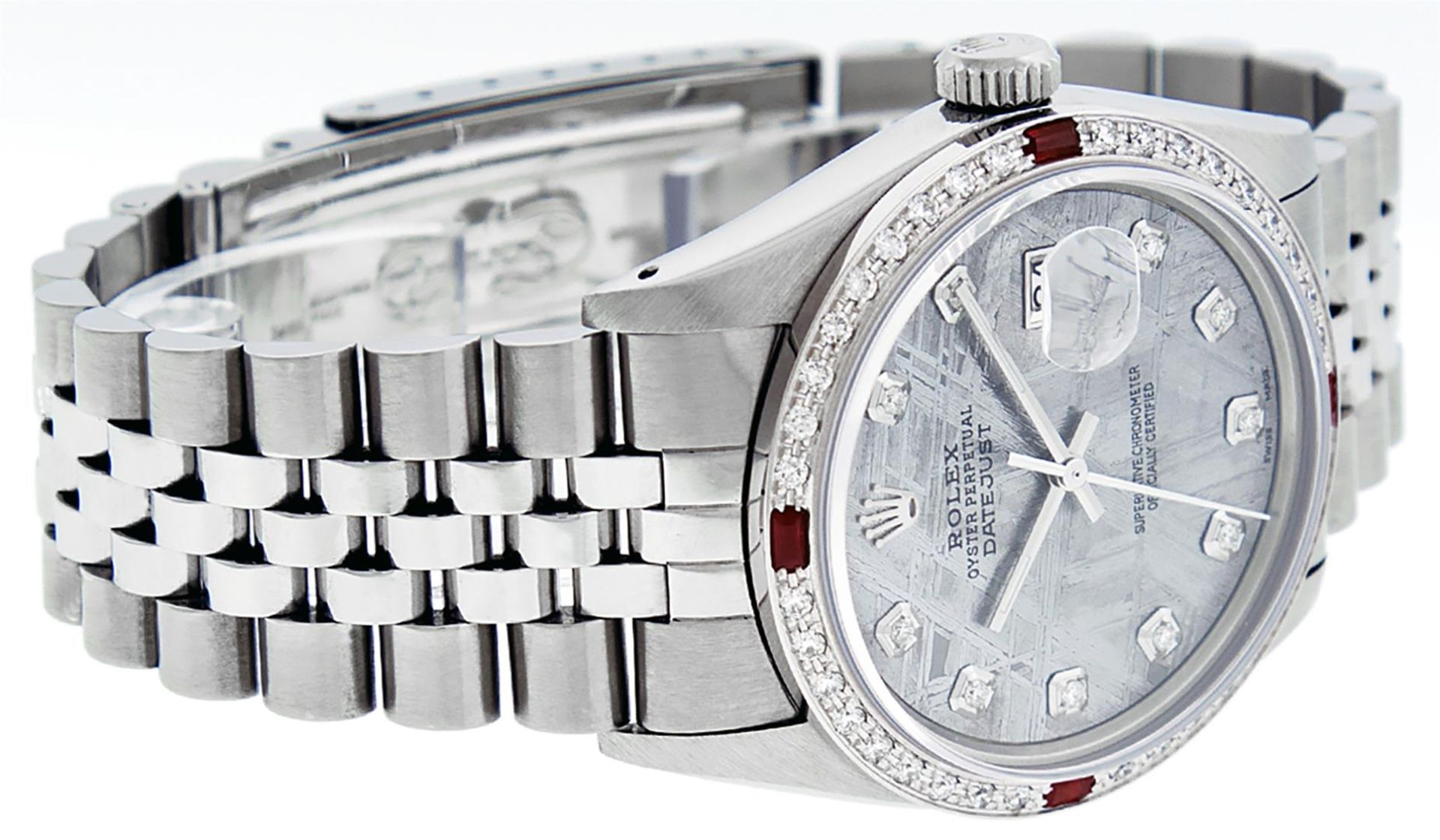 Rolex Mens Stainless Steel Meteorite Diamond And Ruby Datejust Wristwatch 36MM - Image 4 of 9