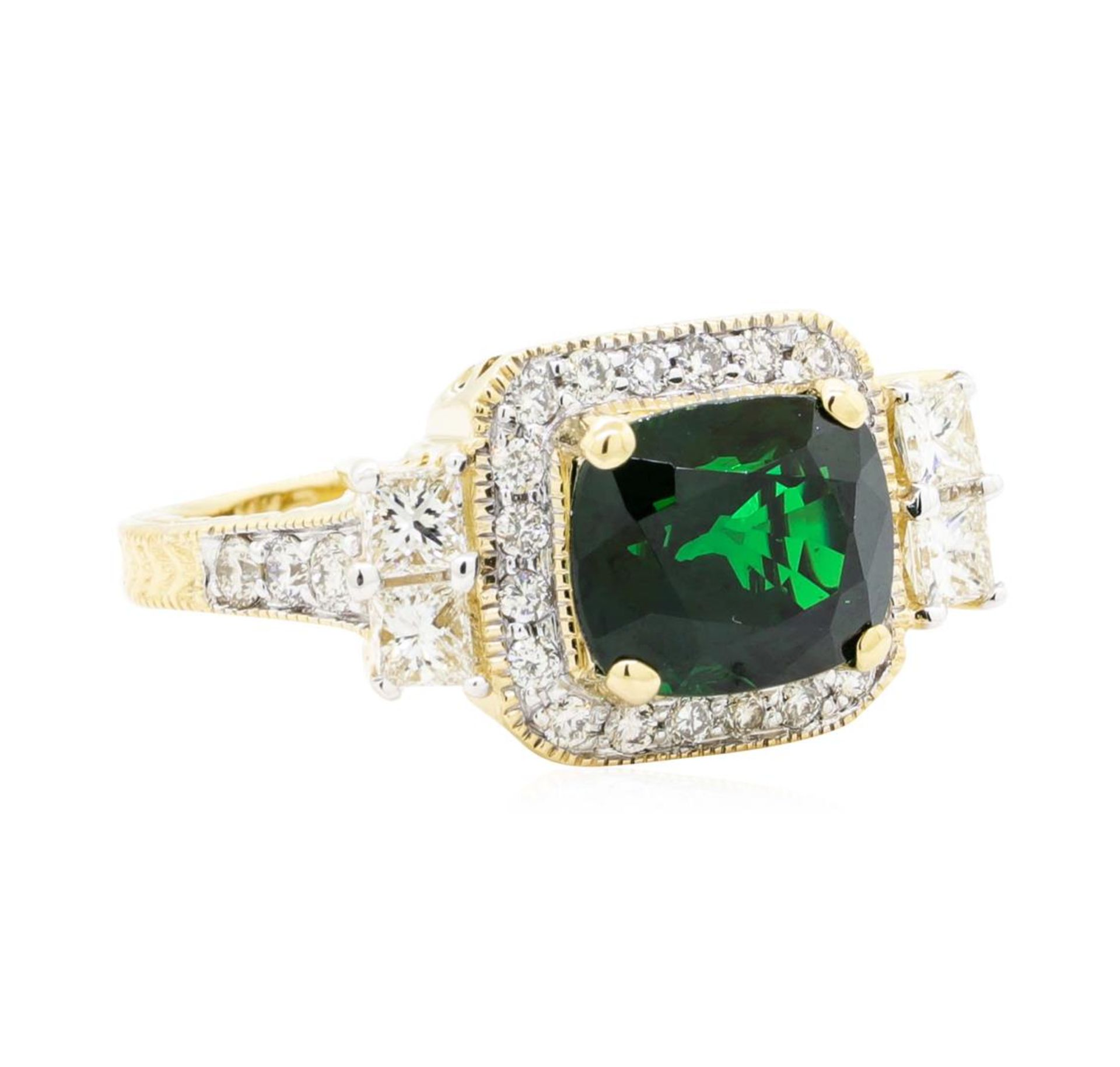 4.44 ctw Rectangular Cushion Mixed Tsavorite Garnet And Princess Cut Diamond Rin