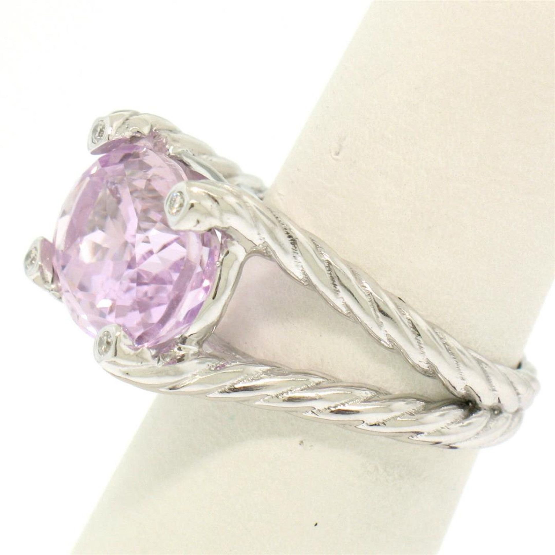 14k White Gold Twisted Cable 8.5 ctw Oval Kunzite Solitaire Ring 4 Diamond Accen - Image 2 of 8