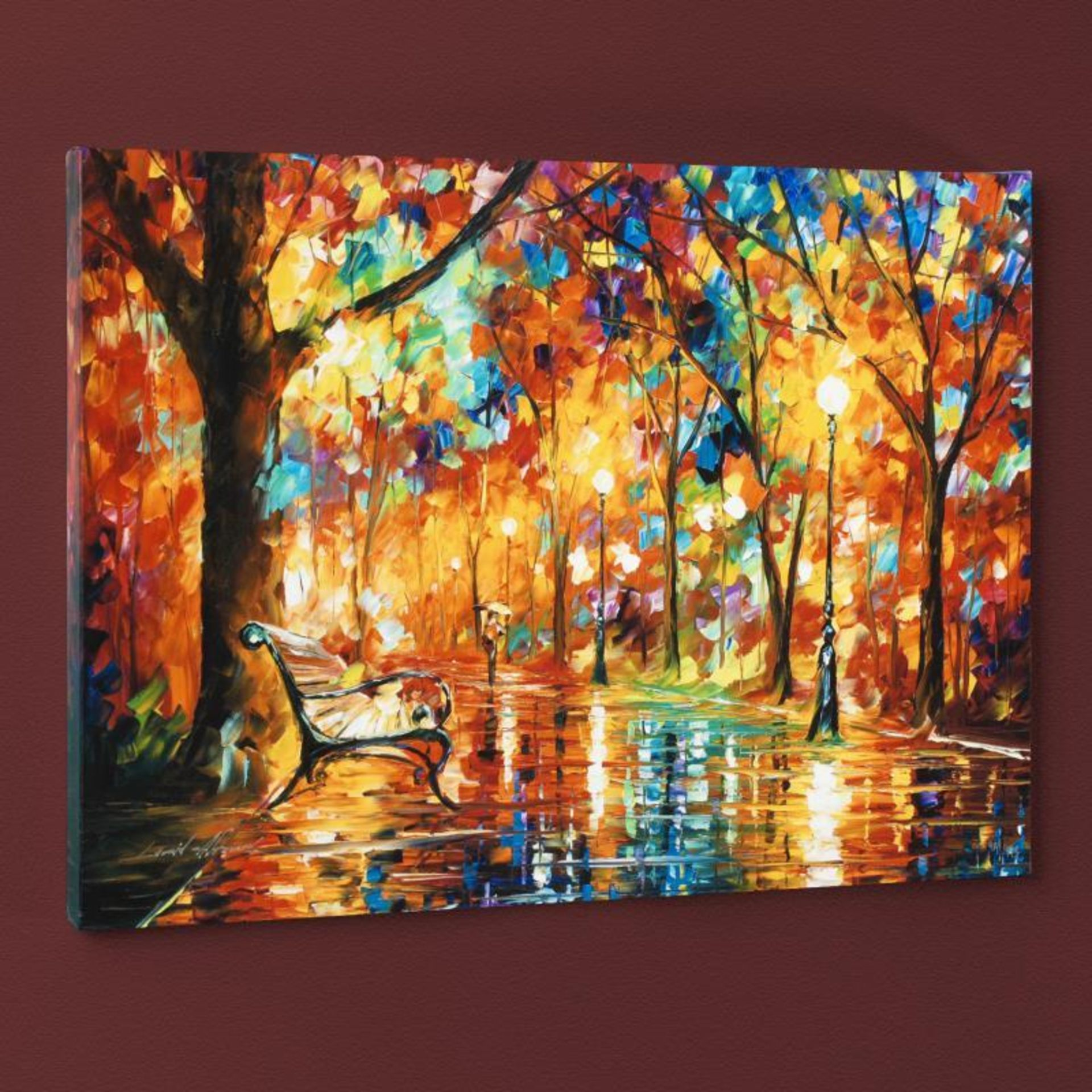 "Leonid Afremov (1955-2019) ""Burst of Autumn"" Limited Edition Giclee on Canvas, N - Image 3 of 3"