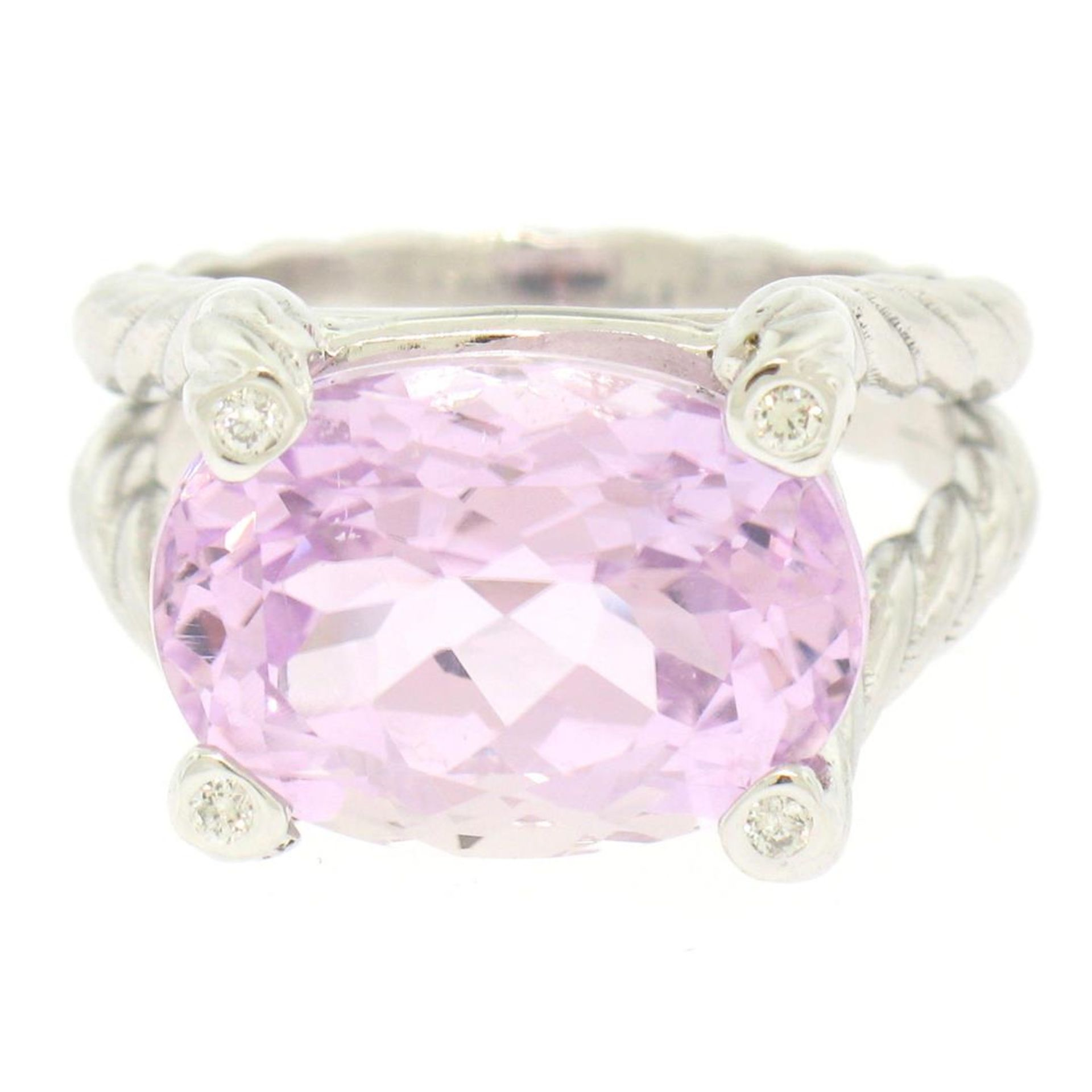 14k White Gold Twisted Cable 8.5 ctw Oval Kunzite Solitaire Ring 4 Diamond Accen - Image 5 of 8