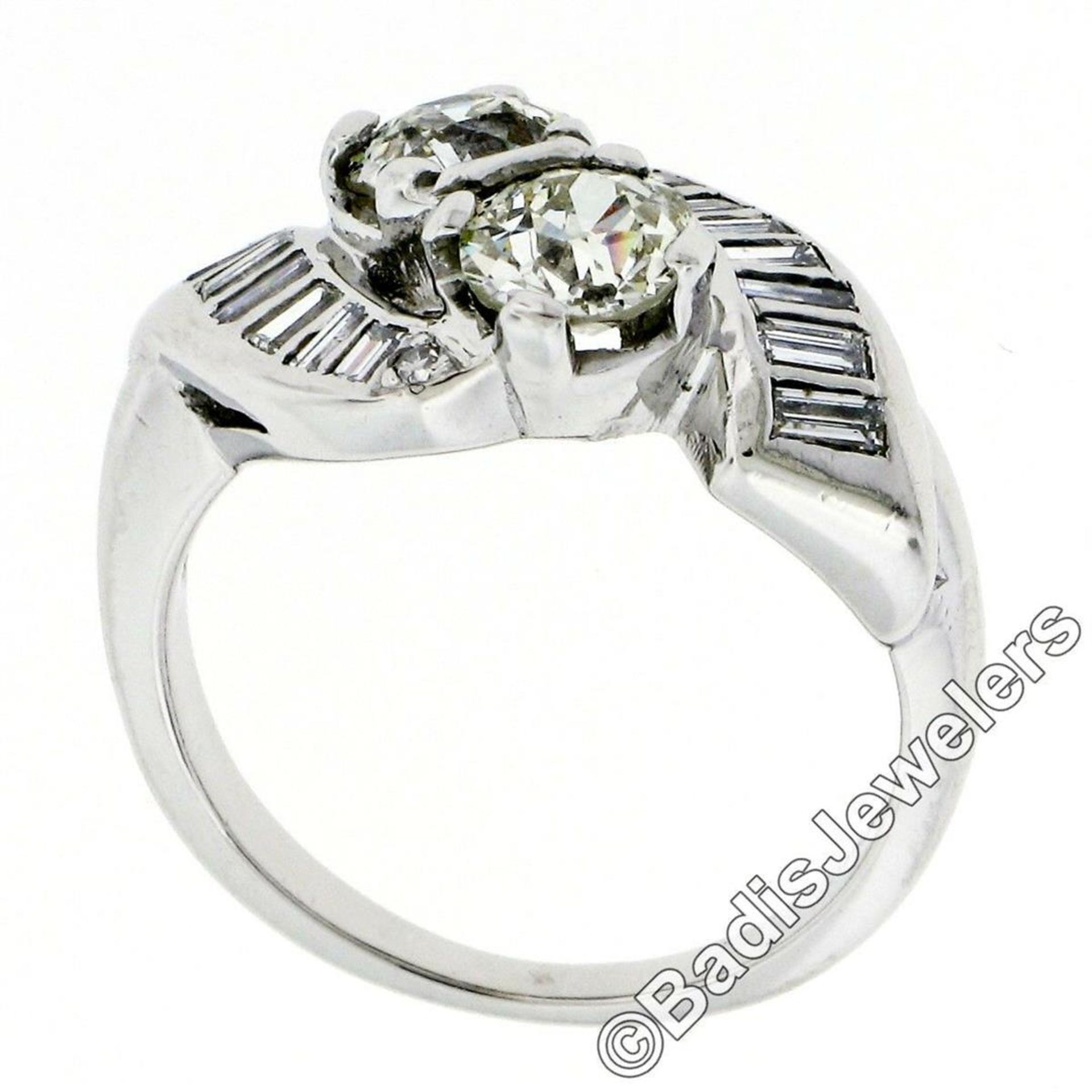 Art Deco Platinum 1.48 ctw Old European and Baguette Cut Diamond Bypass Ring - Image 6 of 9
