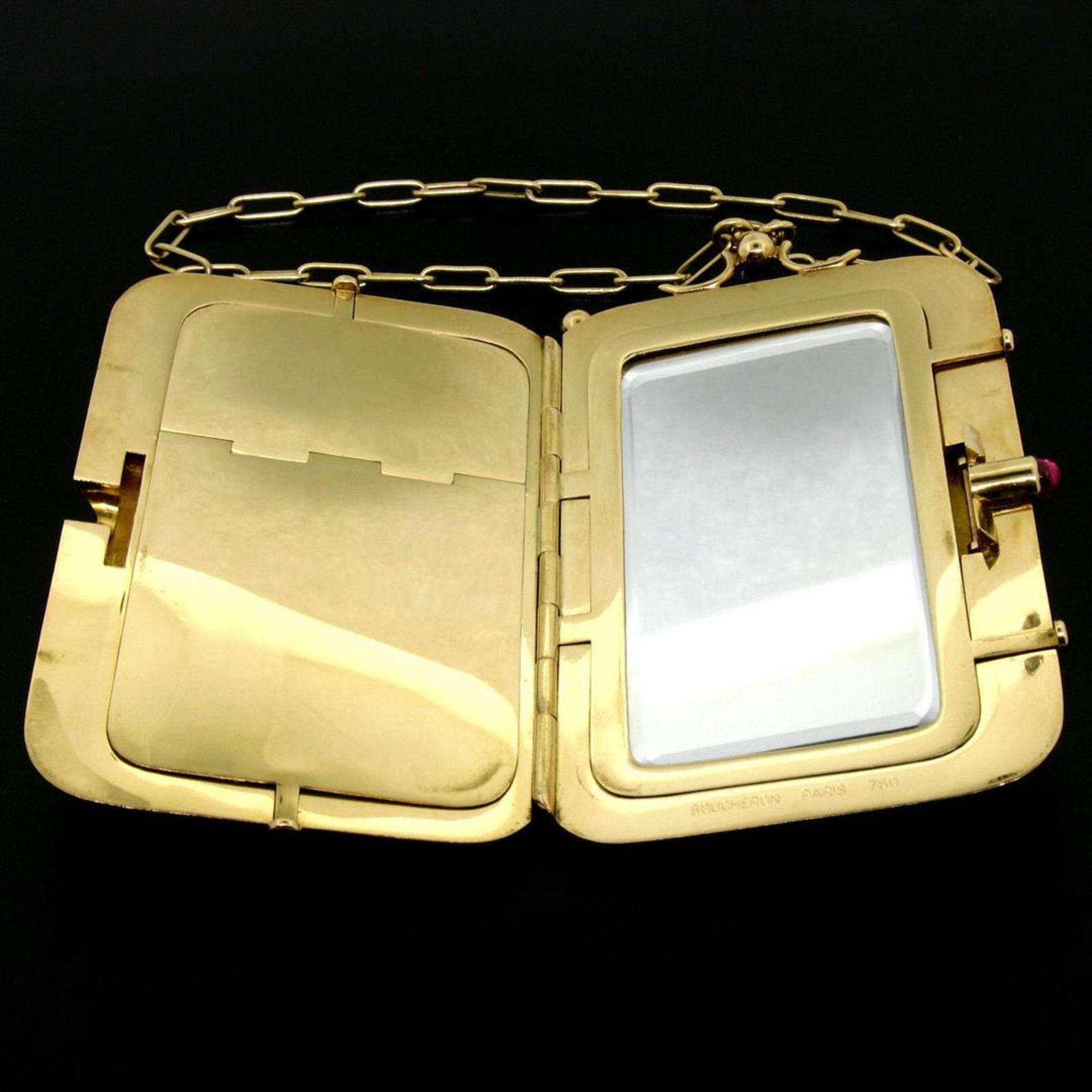 Vintage BOUCHERON Paris 18k Tri Color Gold Ruby Compact Powder Case - Image 5 of 9
