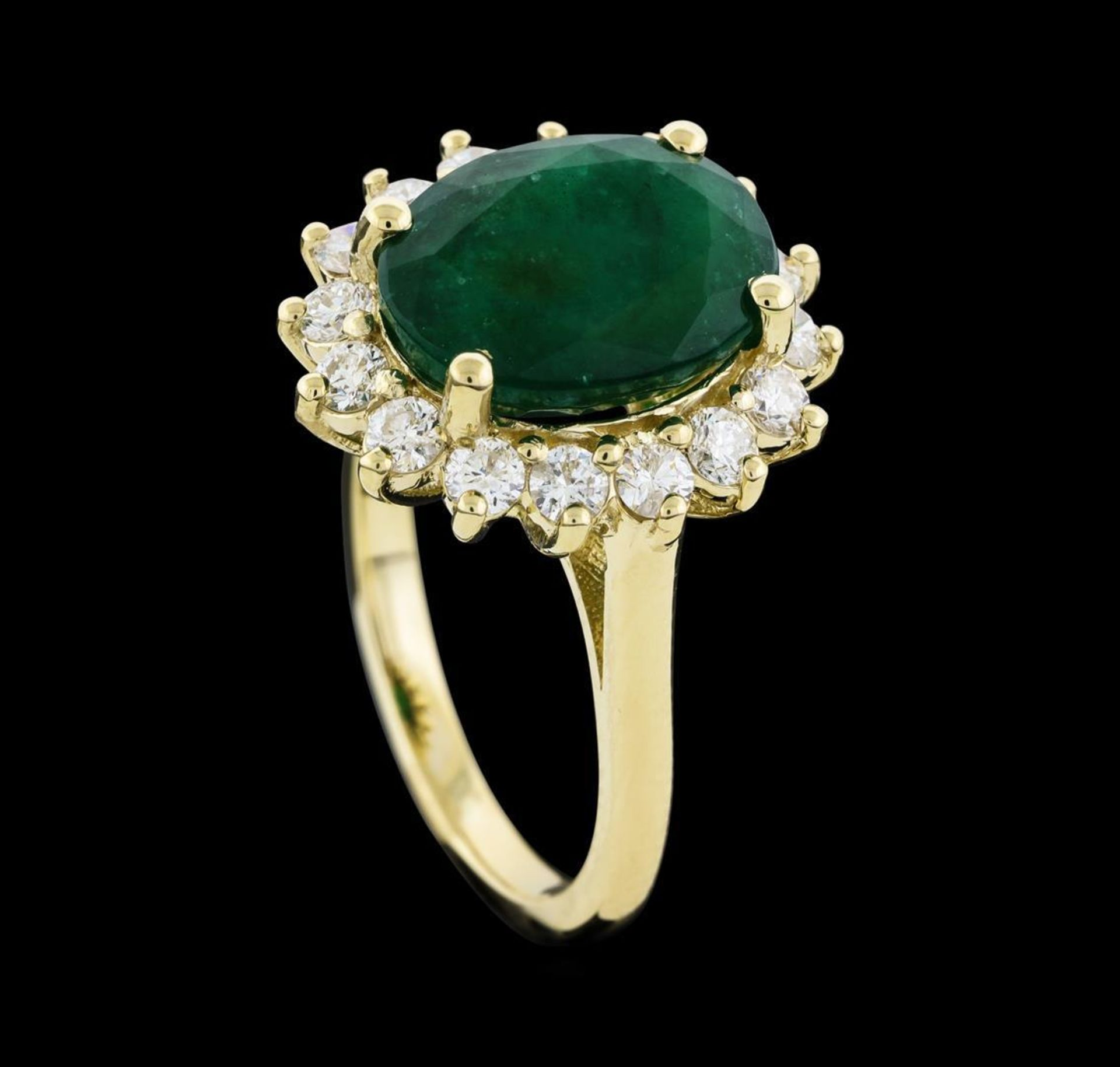 4.52 ctw Emerald and Diamond Ring - 14KT Yellow Gold - Image 4 of 5