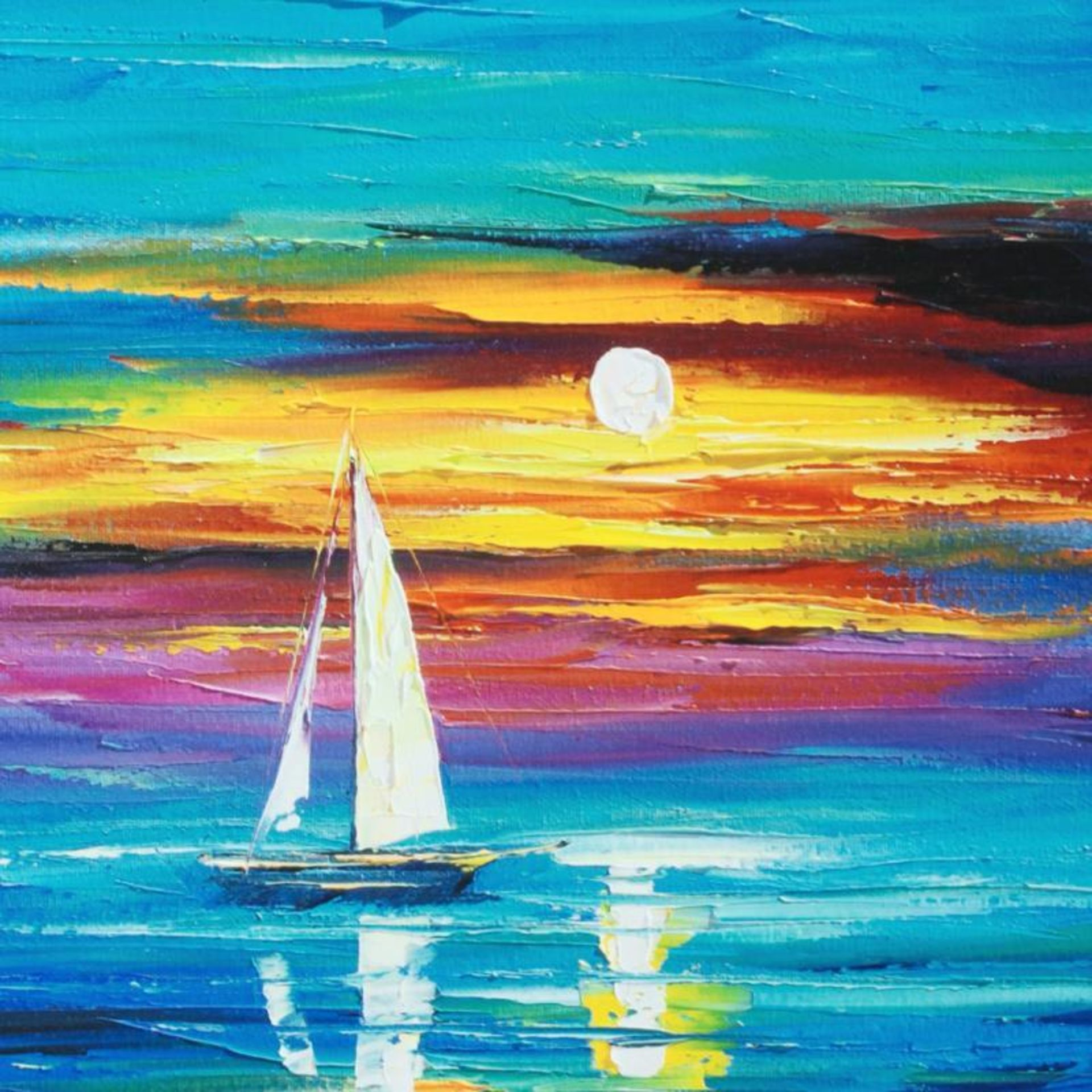 """Leonid Afremov (1955-2019) """"Reflection"""" Limited Edition Giclee on Canvas, Number - Image 2 of 3"""