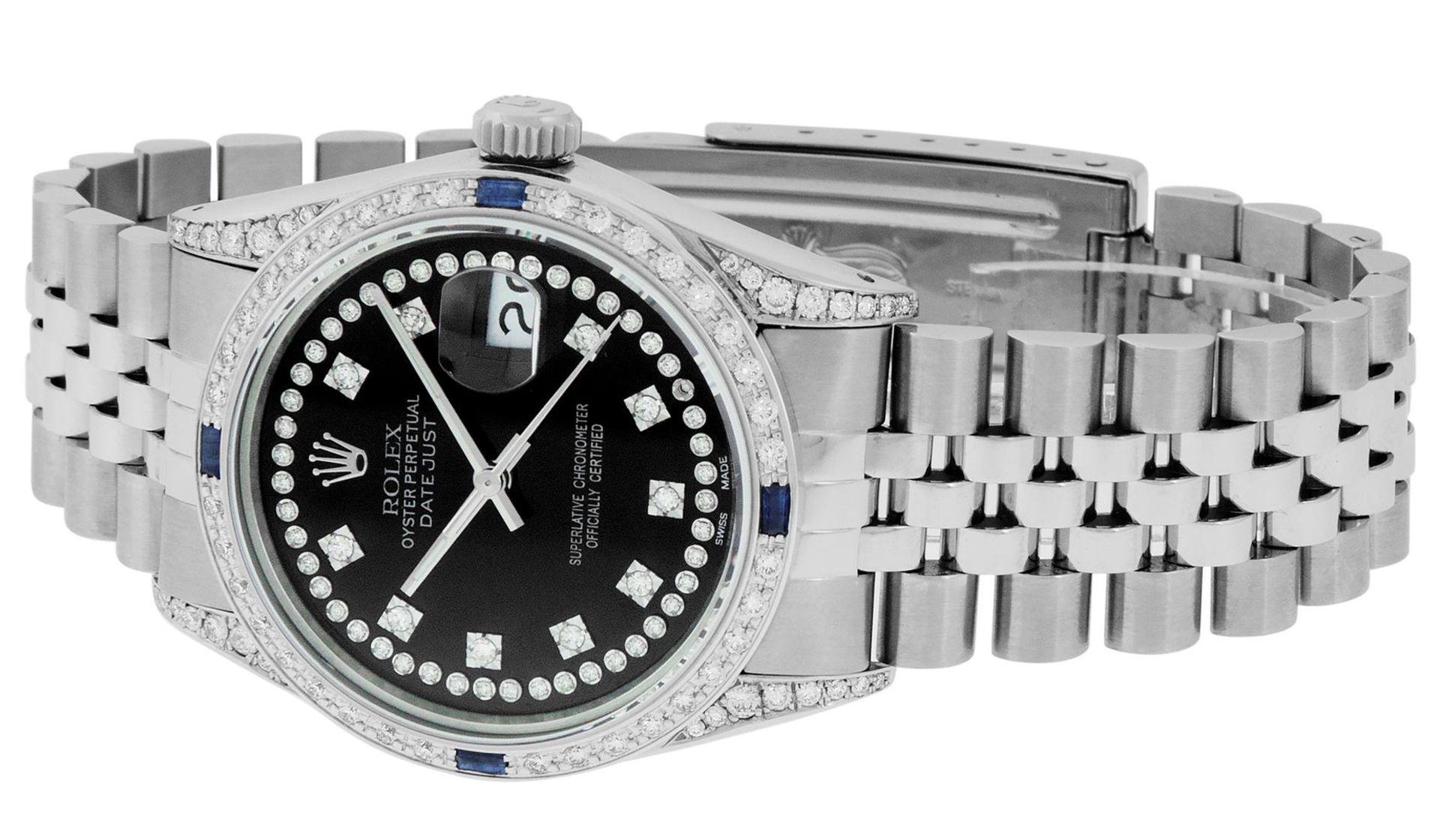 Rolex Mens Stainless Steel Black Diamond Lugs & Sapphire Datejust Wristwatch Oys - Image 2 of 9
