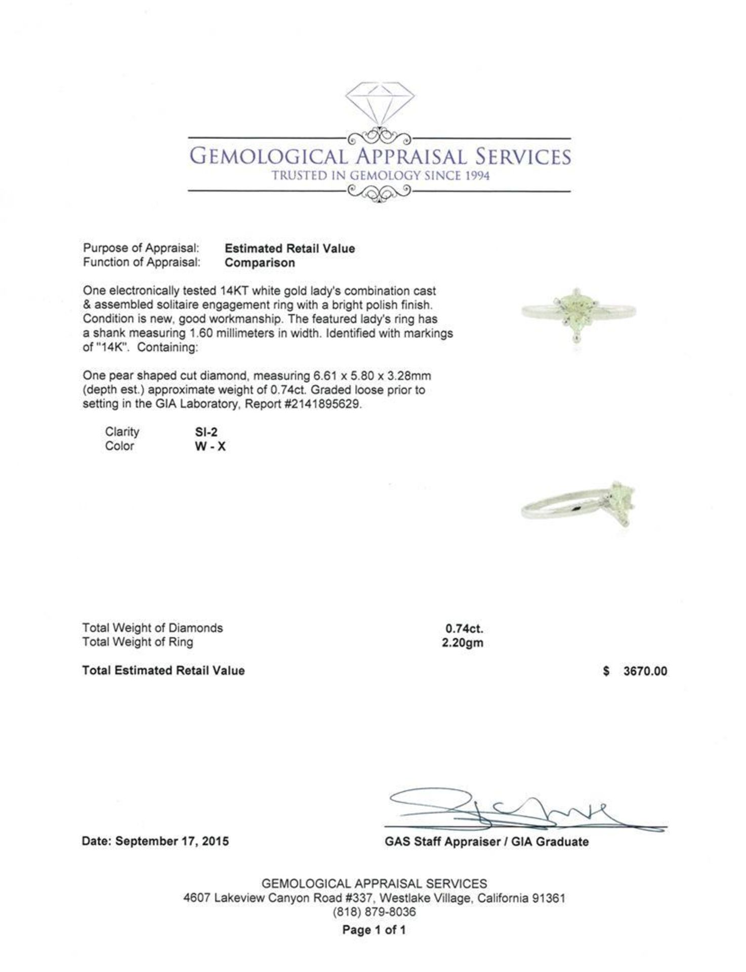 GIA Cert 0.74 ctw Diamond Solitaire Ring - 14KT White Gold - Image 4 of 5