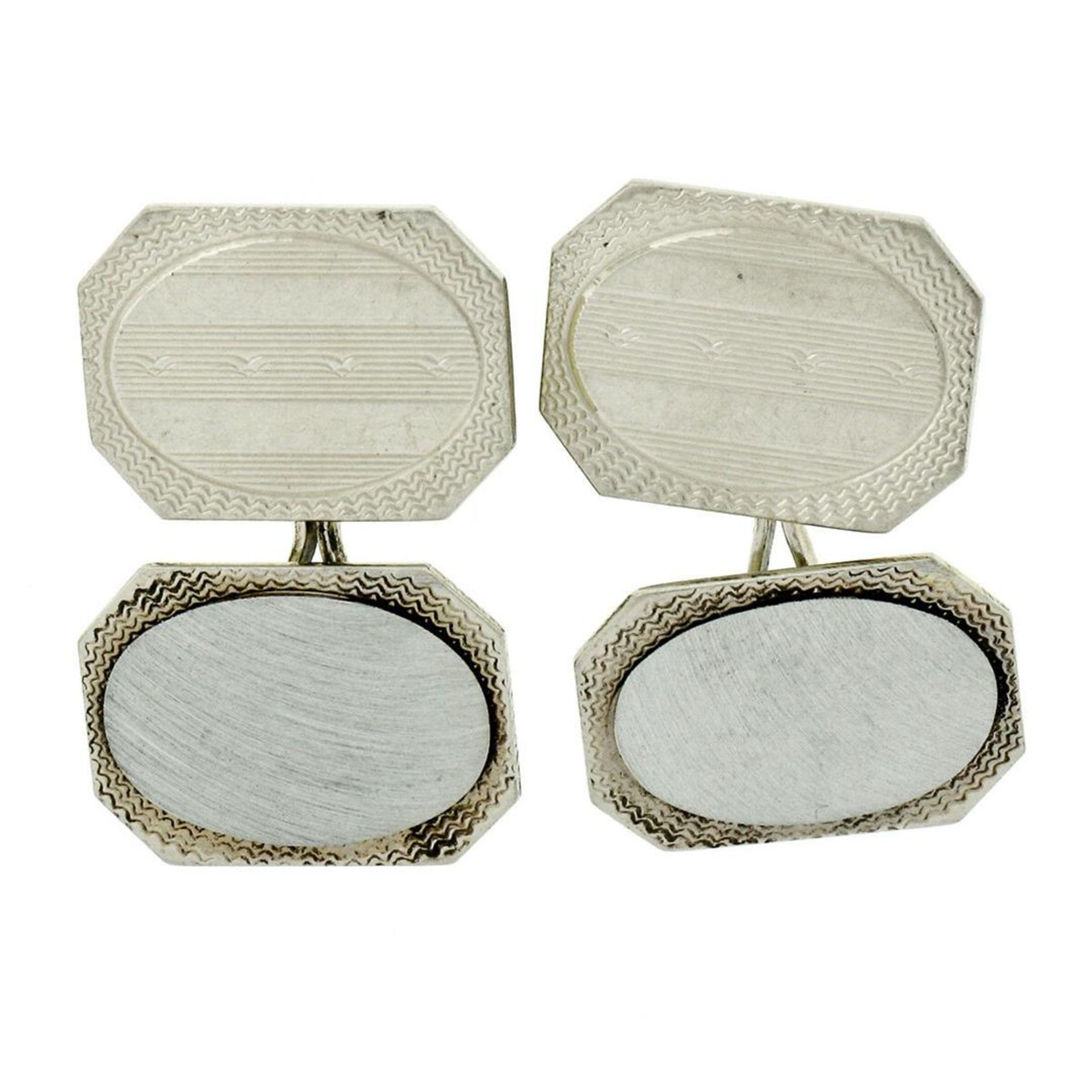 Antique Art Deco 14kt White Gold Etched Dual Panel Cuff Links