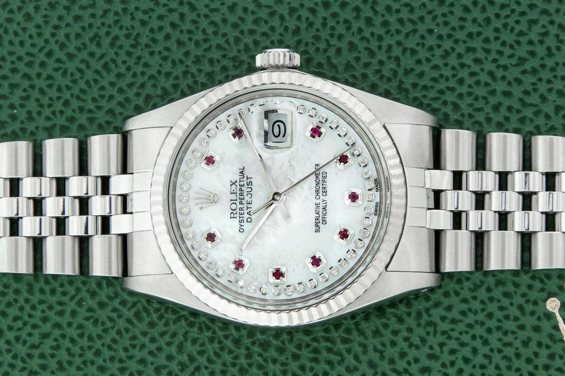 Rolex Mens Stainless Steel Mother Of Pearl Diamond & Ruby Datejust Wristwatch Wi - Image 2 of 8