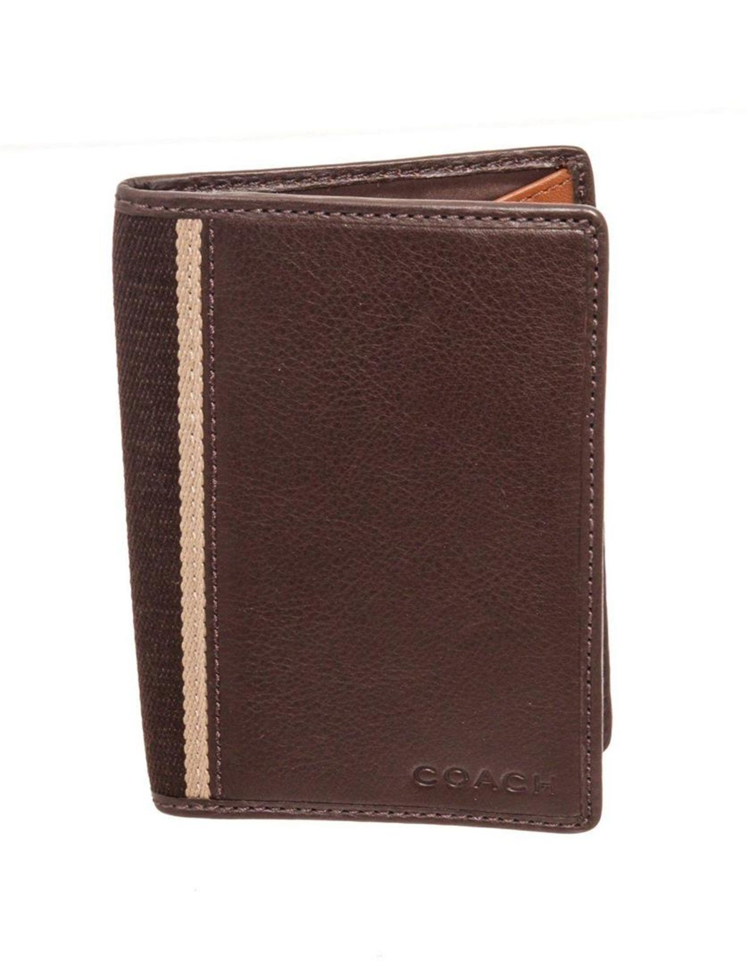 Coach Brown Leather Heritage Web Passport Holder