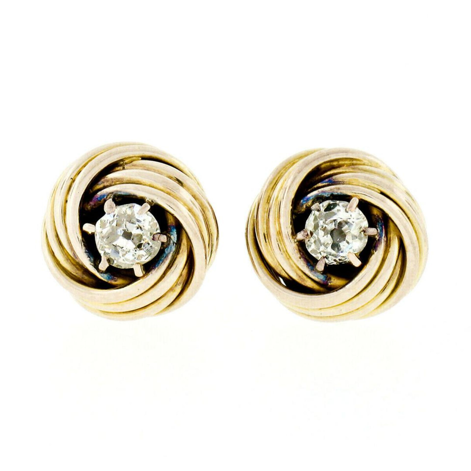Victorian 14kt Yellow Gold 0.36 ctw Old Mine Cut Diamond Love Knot Stud Earrings
