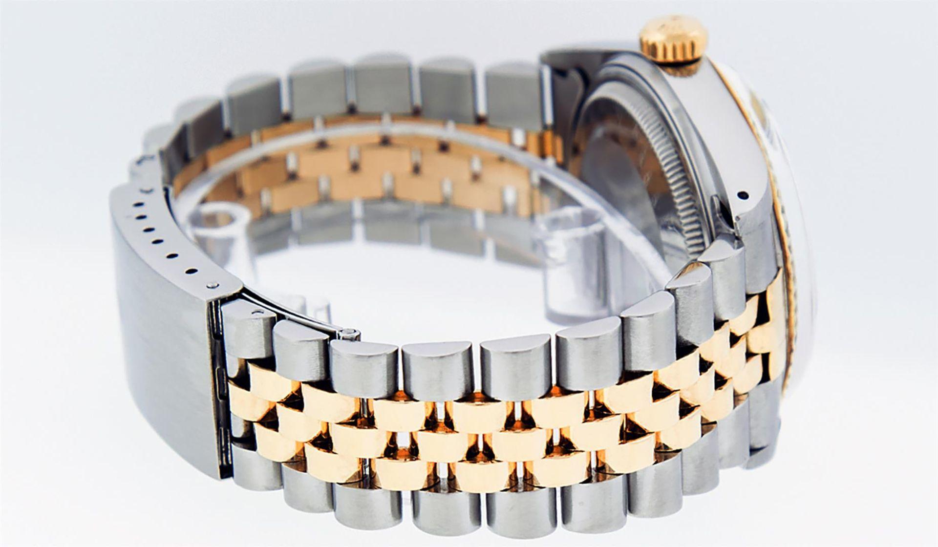 Rolex Mens 2 Tone Black Diamond 36MM Datejust Wristwatch - Image 5 of 9