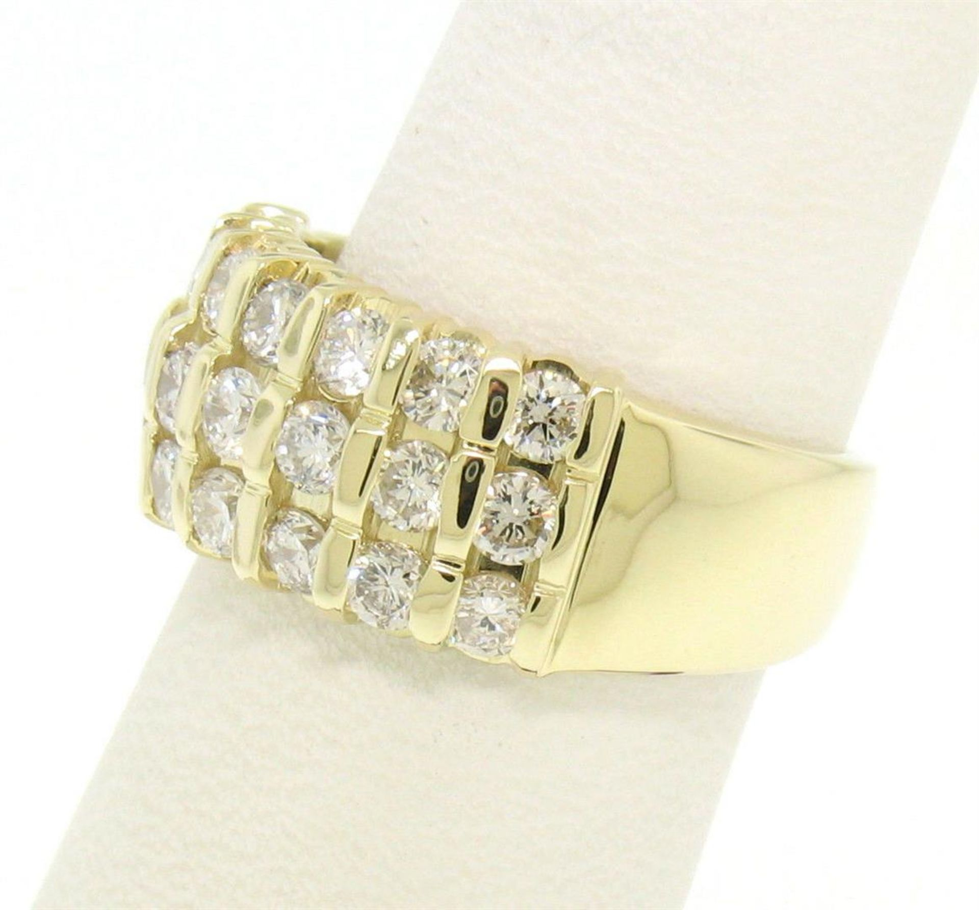 14kt Yellow Gold 1.48 ctw Bar Set Round Diamond Wide Band Ring - Image 4 of 7