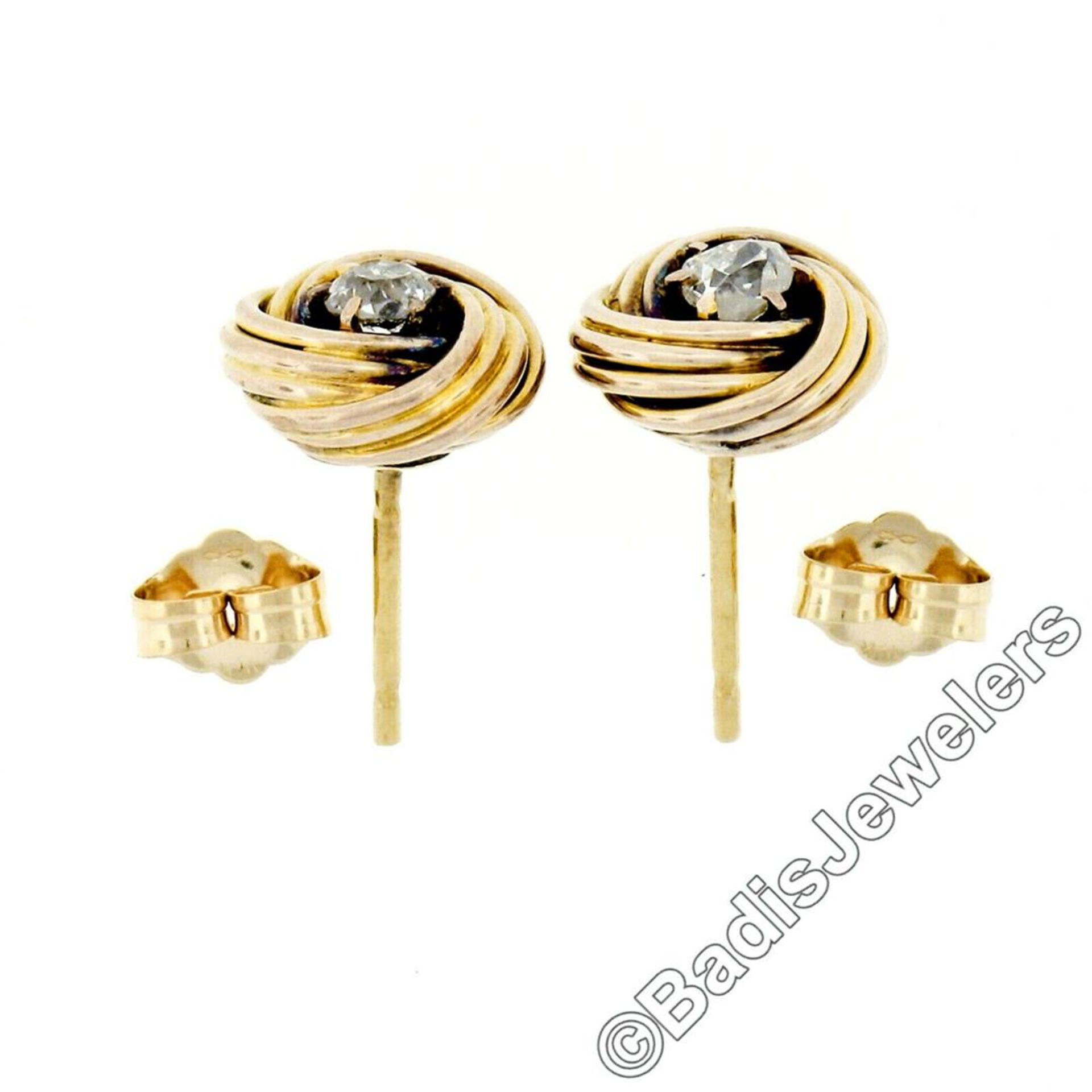 Victorian 14kt Yellow Gold 0.36 ctw Old Mine Cut Diamond Love Knot Stud Earrings - Image 3 of 5
