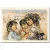 """Zalina with Aries and Ande"" Limited Edition Lithograph by Edna Hibel, Numbered"