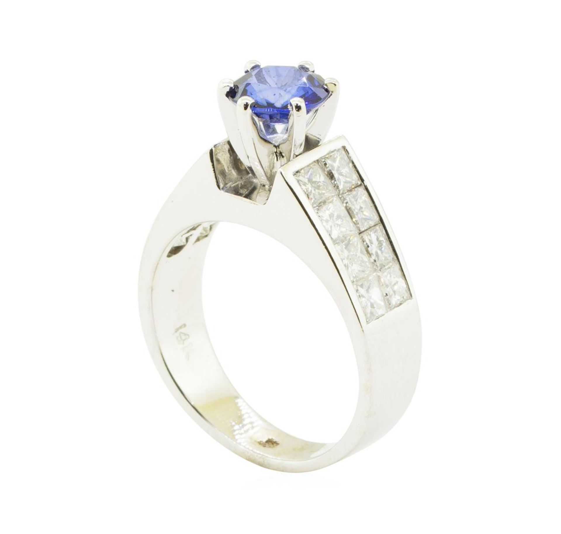 3.15 ctw Round Brilliant Blue Sapphire And Diamond Ring - 14KT White Gold - Image 4 of 5