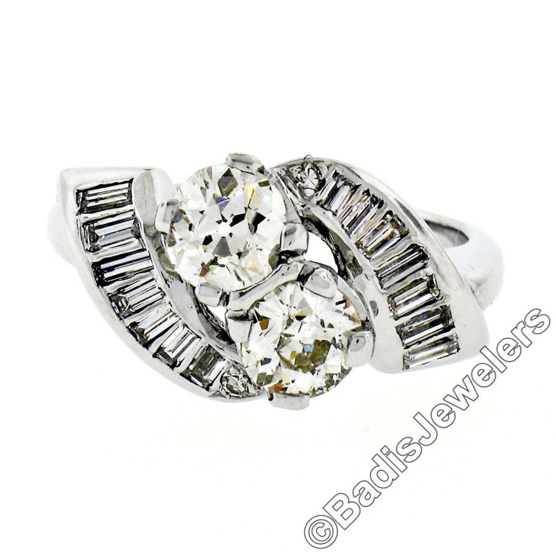 Art Deco Platinum 1.48 ctw Old European and Baguette Cut Diamond Bypass Ring - Image 3 of 9