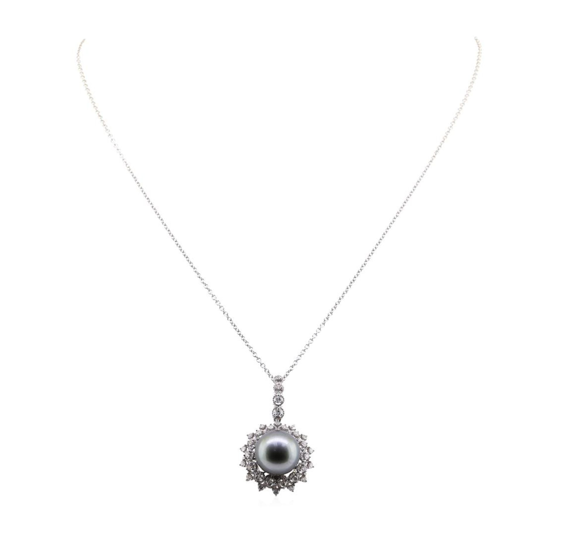 Pearl and Diamond Pendant With Chain - 18KT White Gold - Image 2 of 3