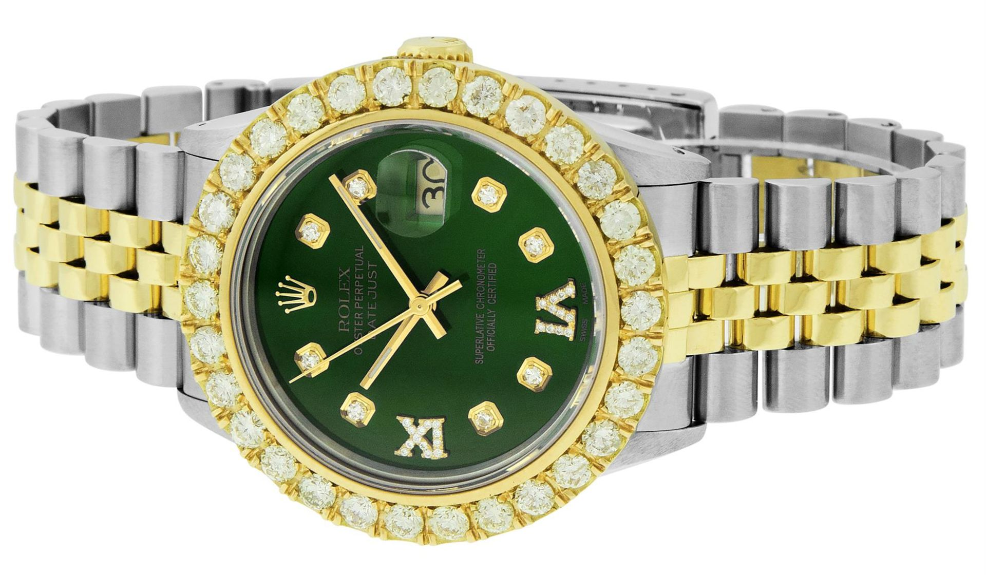 Rolex Mens 2 Tone Green VS 4 ctw Beadset Diamond Datejust Wristwatch with Rolex - Image 3 of 9