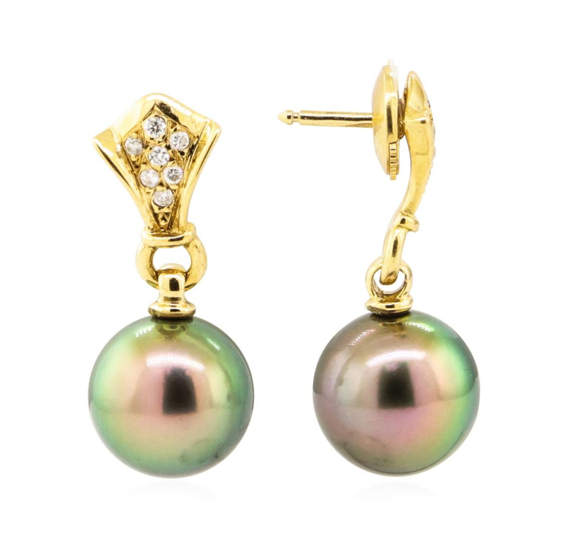 0.15 ctw Diamond and Pearl Earrings - 18KT Yellow Gold - Image 2 of 3