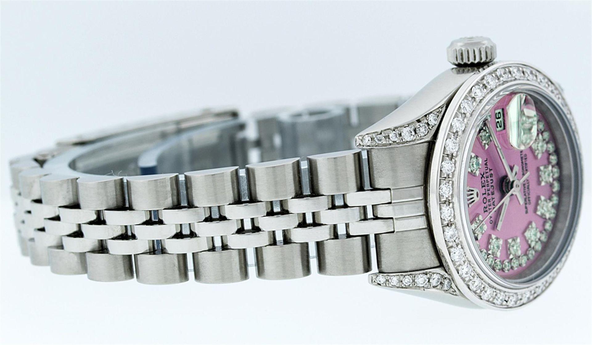 Rolex Ladies Stainless Steel Quickset Pink String Diamond Lugs Datejust Wristwat - Image 7 of 9