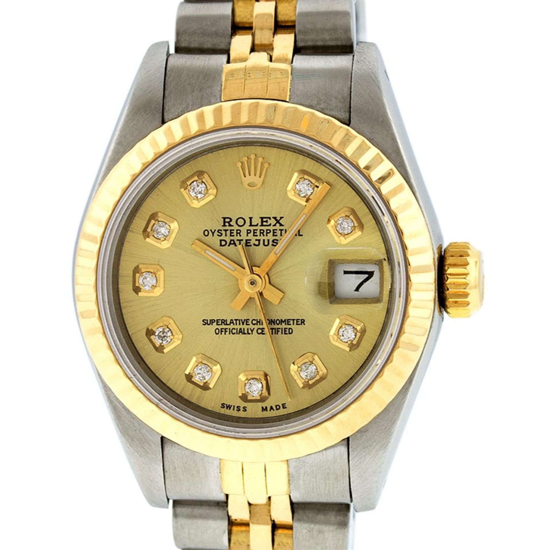 Rolex Ladies 2 Tone Champagne Diamond 26MM Datejust Wristwatch - Image 2 of 9