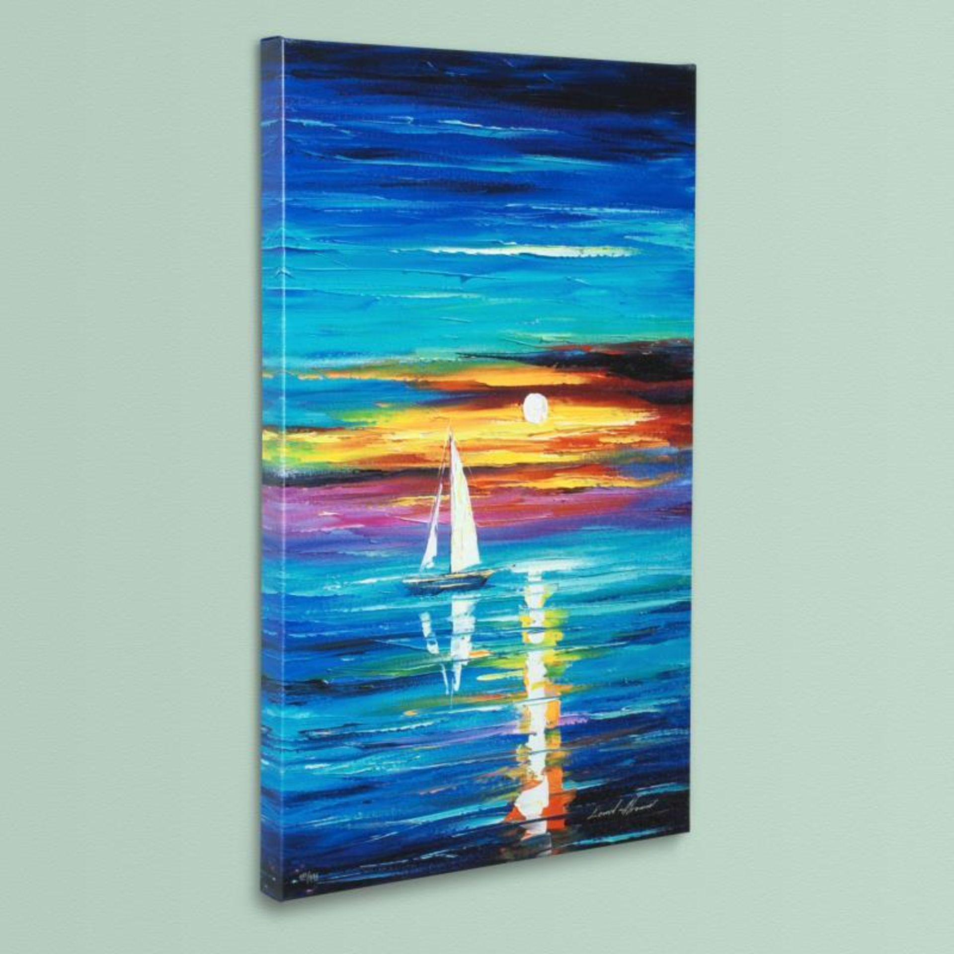 """Leonid Afremov (1955-2019) """"Reflection"""" Limited Edition Giclee on Canvas, Number - Image 3 of 3"""